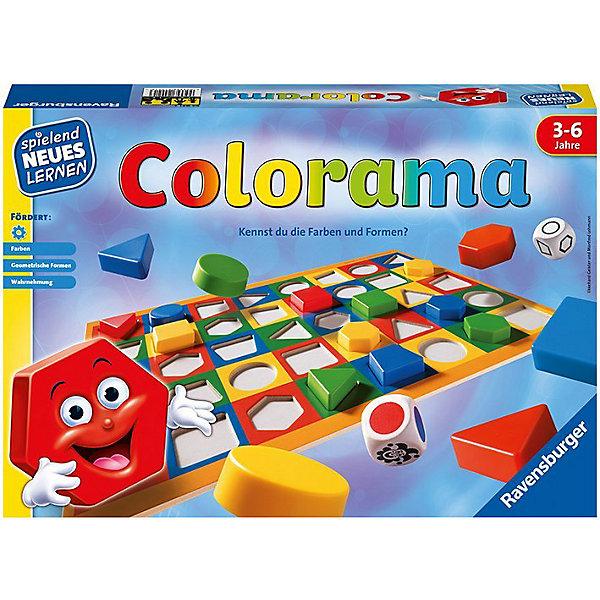 Настольная игра Колорама, RavensburgerНастольные игры для всей семьи<br>Настольная игра Колорама, Ravensburger - увлекательная игра от фирмы Ravensburger, которая откроет Вашему ребенку дорогу к познанию основных цветов и форм. <br><br>Подбирая фигуры по форме и цвету, ребенок в игровой форме знакомится с их многообразием. Возможны различные варианты игры: и простая подборка по заданным на игровом поле параметрам, и поиск подходящего варианта, выпавшего на игровом кубике. <br><br>Дополнительная информация:<br><br>- В комплект игры Колорама входит:<br>- игровое поле, выполненное из плотного картона с углублениями; <br>- 40 фишек из пластмассы (круги, треугольники, квадратики, прямоугольники, трапеции четырех основных цветов); <br>- 2 деревянных кубика: один с цветами, другой с формами; <br>- Продолжительность игры: 20 мин;<br>- Размер упаковки (д/ш/в): 22,5 х 33 х 3,5 см. <br><br>Настольную игру Колорама, Ravensburger можно купить в нашем интернет-магазине.<br>Ширина мм: 339; Глубина мм: 231; Высота мм: 55; Вес г: 541; Возраст от месяцев: 36; Возраст до месяцев: 72; Пол: Унисекс; Возраст: Детский; SKU: 1008025;