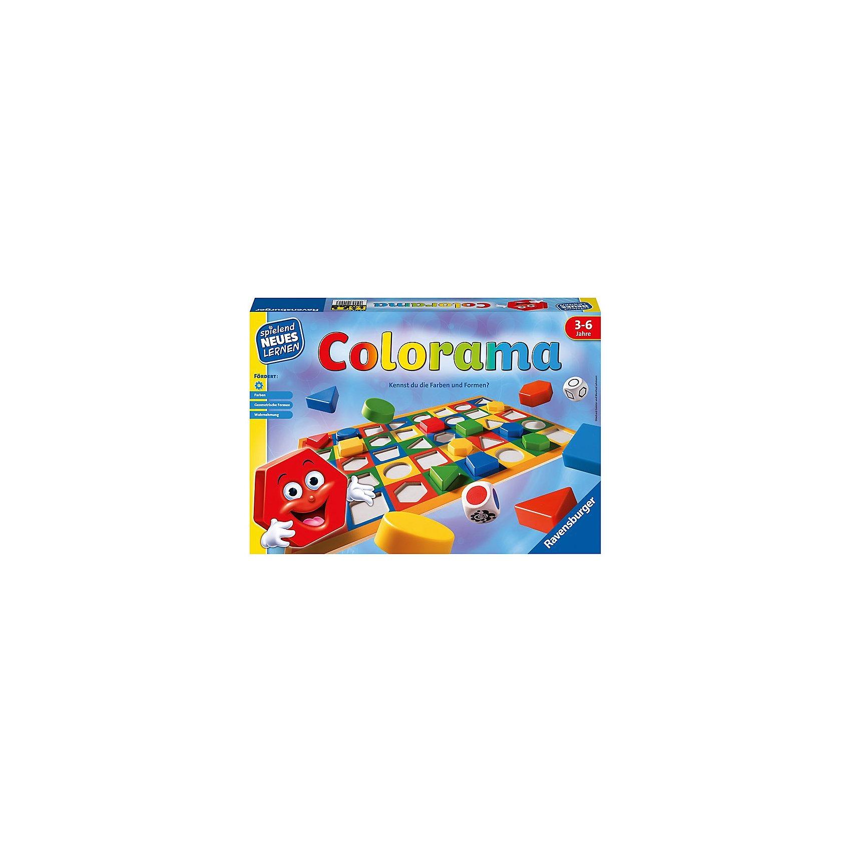 Настольная игра Колорама, RavensburgerНастольная игра Колорама, Ravensburger - увлекательная игра от фирмы Ravensburger, которая откроет Вашему ребенку дорогу к познанию основных цветов и форм. <br><br>Подбирая фигуры по форме и цвету, ребенок в игровой форме знакомится с их многообразием. Возможны различные варианты игры: и простая подборка по заданным на игровом поле параметрам, и поиск подходящего варианта, выпавшего на игровом кубике. <br><br>Дополнительная информация:<br><br>- В комплект игры Колорама входит:<br>- игровое поле, выполненное из плотного картона с углублениями; <br>- 40 фишек из пластмассы (круги, треугольники, квадратики, прямоугольники, трапеции четырех основных цветов); <br>- 2 деревянных кубика: один с цветами, другой с формами; <br>- Продолжительность игры: 20 мин;<br>- Размер упаковки (д/ш/в): 22,5 х 33 х 3,5 см. <br><br>Настольную игру Колорама, Ravensburger можно купить в нашем интернет-магазине.<br><br>Ширина мм: 339<br>Глубина мм: 233<br>Высота мм: 55<br>Вес г: 532<br>Возраст от месяцев: 36<br>Возраст до месяцев: 72<br>Пол: Унисекс<br>Возраст: Детский<br>SKU: 1008025