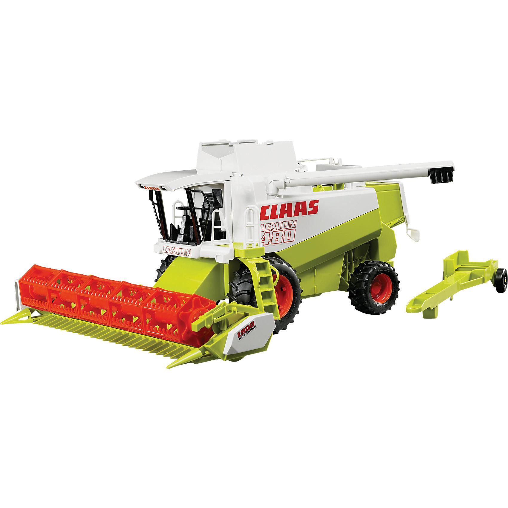 Комбайн Claas Lexion 480, BruderКоллекционные модели<br>Комбайн Claas Lexion 480<br>Эта машина из серии TOP PROFI SERIES – копия реальной техники в масштабе 1:16. Повторяет функции настоящей машины. Она – маленький представитель большого семейства сельскохозяйственных машин, выполняющих различные работы на поле – настоящий помощник фермера.<br><br>Техническая оснащенность:<br><br>- съемное устройство для косьбы; <br>- косилка имеет 2 положения: верхнее - для транспортировки, нижнее - для сборки урожая; <br>- во время движения комбайна в косилке вращается шнек и лопасти.<br>- труба зерноподатчика поворачивается чтобы ссыпать собранный урожай в грузовик; <br>- сверху открываются створки люка контейнера для семян и сдвигается панель, чтобы семена пересыпались в дозатор;<br>- дозатор опускается и семена попадают в землю (таким образом ребёнок может играть с песком); <br>- поднимается фильтр воздухозаборника;<br>- подножка со ступеньками поворачивается;<br>- точная копия протектора шин;<br>- поставляется с прицепом для буксировки.<br><br>Превосходная игрушка для сюжетно-ролевых игр, где ребёнок знакомится с реальной техникой – мощными профессиональными автомобилями, узнаёт особенности их строения и способы использования. Увлекательная сюжетно-ролевая игра не только развлекает ребёнка, но и вырабатывает такие практические качества, как ловкость и слаженность движений рук, сноровку и координацию, развивает мелкую моторику пальцев рук, приглашает подвигаться и пофантазировать.<br><br>Крайне важно качественное исполнение игрушки (прочность, устойчивость, грузоподъёмность и т.д.) – соответствует европейским нормам безопасности для игрушек и американским потребительским стандартам, производится только в Германии.<br><br>Размер игрушки: 45 x 22 x 37 cm.<br><br>Материал высококачественная пластмасса, металл. <br><br>Комбайн Claas Lexion 480, Bruder (Брудер) можно купить в нашем магазине<br><br>Ширина мм: 378<br>Глубина мм: 259<br>Высота мм: 198<br>Вес г: 1226<br>Возраст от месяц