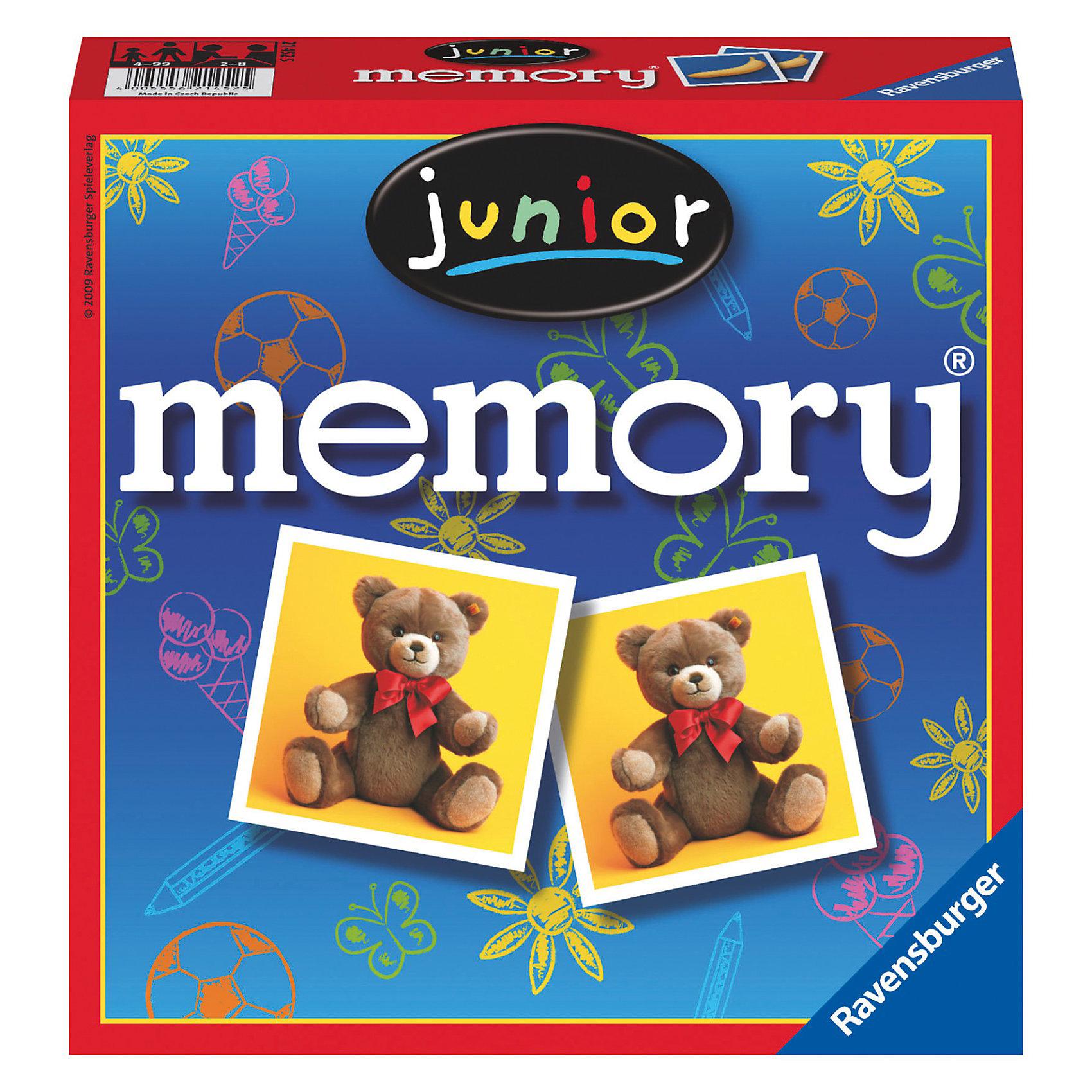 Игра Мемори. Мир детства RavensburgerИгра мемори Мир детства от Ravensburger соберет всю семью вместе! В нее будет интересно играть как малышам, так и взрослым.<br><br>На карточках изображены предметы, которые окружают ребенка - игрушки, карандаши, краски и многое другое. Все картинки красочные и четкие и отличаются первоклассным качеством полиграфии.<br><br>Как играть в мемори? Необходимо хорошо перемешать все карточки и разложить их на столе картинками вниз. Первый игрок открывает любые две карточки. Если открылись две одинаковые, то игрок забирает их себе и продолжает открывать, пока не откроет две разные карточки. В этом случае игру продолжает следующий игрок. Победителем считается тот, кто собрал наибольшее количество пар.<br><br>Игра отлично развивает зрительную память, внимание, обладает обучающим эффектом.<br><br>Мемори Мир детства - замечательная настольная игра для семейного досуга!<br><br>Дополнительная информация:<br><br>Количество игроков: 2-4.<br>В комплекте: 72 карточки (36 пар).<br>Материал: плотный картон. <br>Размер карточки: 6 х 6 х 0,2 см.<br><br>Игру мемори Мир детства Ravensburger можно купить в нашем магазине.<br><br>Ширина мм: 193<br>Глубина мм: 195<br>Высота мм: 50<br>Вес г: 419<br>Возраст от месяцев: 48<br>Возраст до месяцев: 84<br>Пол: Унисекс<br>Возраст: Детский<br>SKU: 1020196