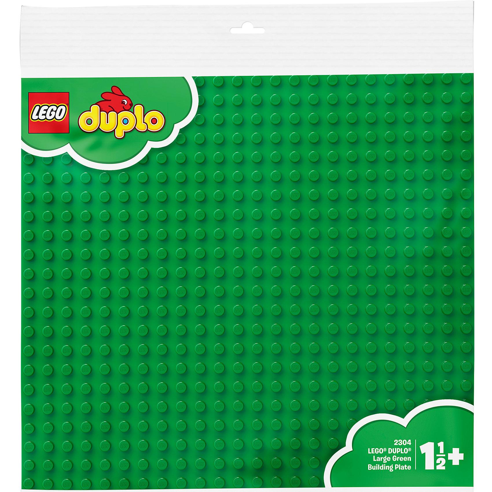 LEGO DUPLO 2304: Большая строительная пластинаПластмассовые конструкторы<br>Большая строительная пластина DUPLO. Цвет зеленый (LEGO 2304). Идеальная основа для крупных строительных проектов. <br><br>Большие размеры пластины позволят ребенку не только построить свой мир для игр, но и значительно расширить его границы. <br><br>Детали: <br><br>- пластина является также идеальным основанием для строительных элементов DUPLO более ранних выпусков <br>- размеры: 38 x 38 см <br><br>Дополнительная информация: <br><br>- LEGO-артикул: 2304 <br>- Возраст: от 2 до 5 лет <br>- Состав: 1 большая строительная пластина<br><br>Ширина мм: 396<br>Глубина мм: 386<br>Высота мм: 17<br>Вес г: 273<br>Возраст от месяцев: 24<br>Возраст до месяцев: 60<br>Пол: Унисекс<br>Возраст: Детский<br>SKU: 1025638