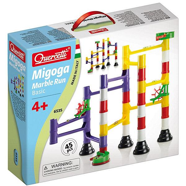 Конструктор Quercetti Бегущие шарики, 45 деталейПластмассовые конструкторы<br>Характеристики товара:<br><br>• возраст: от 4 лет;<br>• материал: пластик;<br>• количество деталей: 45;<br>• в наборе: 10 прямых дорожек, 14 элементов столбы/трубы/стойки, 4 основы, 2 детали, стартовые ворота 2 шт., стартовые ворота контейнера, 10 шариков, инструкция;<br>• размер упаковки: 34х29х8 см.;<br>• вес упаковки: 700 гр.;<br>• страна бренда: Италия.<br><br>Из конструктора Quercetti «Бегущие шарики» можно собрать необычный трек из мостов, склонов, и труб, по которым с невероятной скоростью прокатятся разноцветные шарики. Разные варианты сборки представлены в инструкции. Кроме того, ребенок сможет проявить фантазию и построить собственный трек.<br><br>С этой игрой легко познавать основы физики, действие гравитации и скорость. Конструктор развивает цветовосприятие, внимательность и логическое мышление. Подходит для игр вдвоем.<br><br>Конструктор «Бегущие шарики», 45 деталей, Quercetti можно купить в нашем интернет-магазине.<br>Ширина мм: 346; Глубина мм: 292; Высота мм: 84; Вес г: 622; Возраст от месяцев: 48; Возраст до месяцев: 96; Пол: Унисекс; Возраст: Детский; SKU: 1027401;