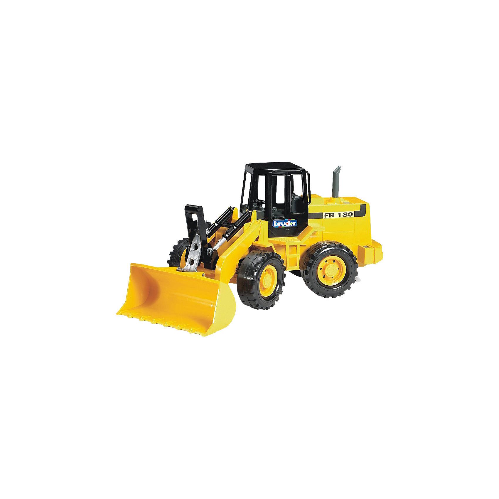 Бульдозер колёсный FR 130,  BruderКоллекционные модели<br>Бульдозер колёсный FR 130 Bruder является моделью реальной строительной машины. Яркая интересная игрушка для мальчиков имеет подвижные детали, которые, безусловно, оценят дети.<br>Капот бульдозера Брудер открывается, демонстрируя двигательные механизмы. Детализированный салон, рельефные бампер, воздухозаборник, выхлопная труба, - все это прекрасно сочетается в детской игрушке. Ковш бульдозера способен подниматься до 90 градусов вверх. Его можно установить на необходимую высоту и зафиксировать с помощью специальной защелки. Угол наклона самого ковша меняется при помощи расположенного рядом черного рычага.  Бульдозер колёсный FR 130  имеет подвижные относительно друг друга части. Часть бульдозера Bruder 02-425  с ковшом поворачивается при помощи руля в кабине, что делает его маневренным, облегчает управление и сбор сыпучих веществ. <br><br>Дополнительная информация:<br><br>- Размер игрушки: 40 х 15 х 18 см.<br>- Модель изготовлена из высококачественной прочной пластмассы.<br>- Масштаб: 1:16<br><br>Бульдозер колёсный FR 130,  Bruder можно купить в нашем магазине.<br><br>Ширина мм: 425<br>Глубина мм: 223<br>Высота мм: 187<br>Вес г: 783<br>Возраст от месяцев: 36<br>Возраст до месяцев: 96<br>Пол: Мужской<br>Возраст: Детский<br>SKU: 1027832