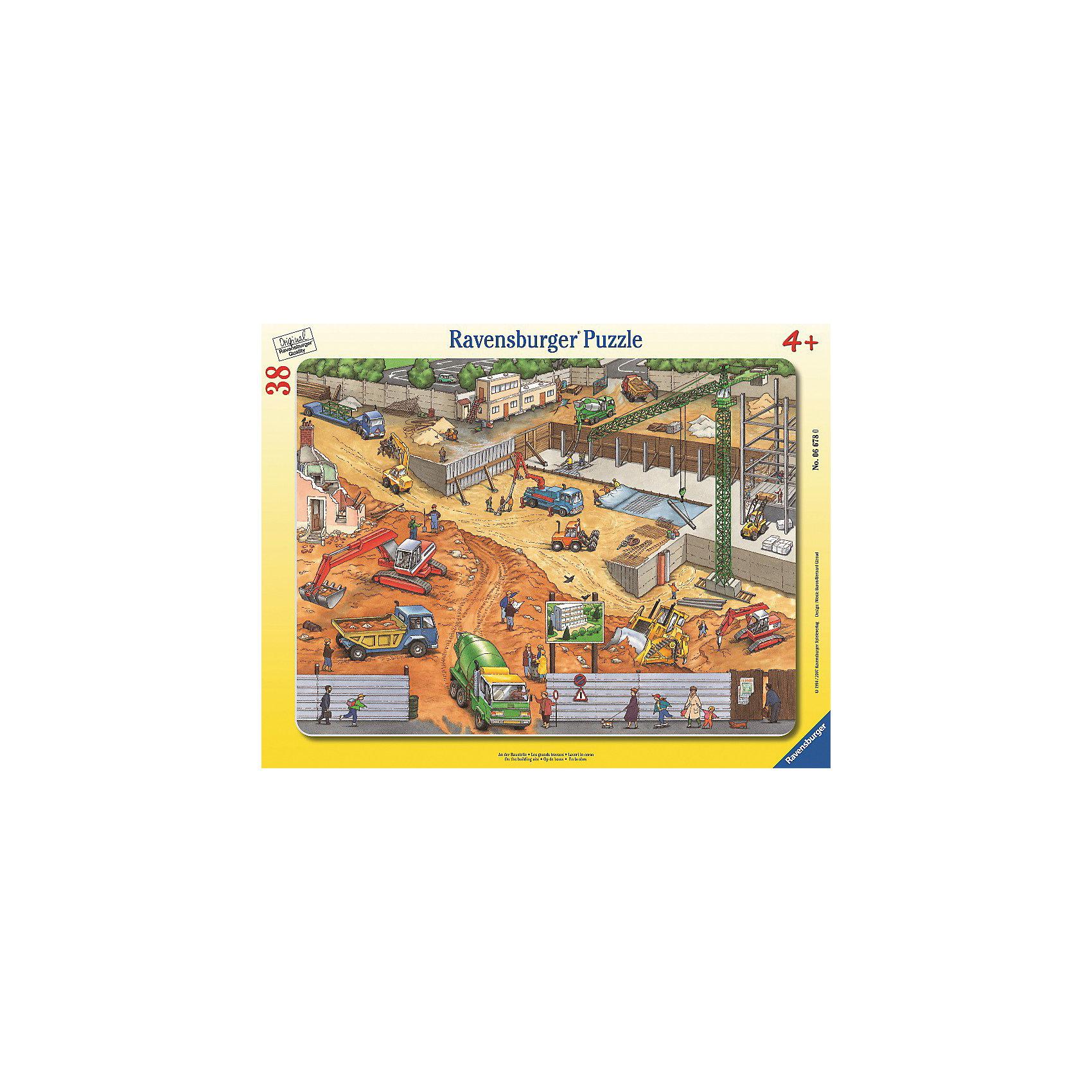 Пазл На строительной площадке Ravensburger, 38 деталейПазлы для малышей<br>Пазл «На стройке», 38 деталей, Ravensburger (Равенсбургер) – это увлекательное и полезное времяпрепровождение для Вашего ребенка!<br>Пазл «На стройке» изображает строительную площадку с самой разнообразной строительной техникой. Здесь и цементовоз, и экскаватор, и подъемный кран, и самосвал. Практически полный комплект строительных машин и механизмов, необходимых на стройке. Пазл дает представление о разных видах строительной техники, их функциях и назначении. Собирая картинку, ребенок развивает логическое мышление, воображение, мелкую моторику и умение принимать самостоятельные решения. Пазлы Ravensburger неповторимы и уникальны тем, что для их изготовления используется картон наивысшего класса, благодаря которому сложенные головоломки не сгибаются, сам картон не отделяется от картинки, а сложенная картинка представляется абсолютно плоской и не деформируется даже спустя время. Прочные детали не ломаются. Каждая деталь имеет свою форму и подходит только на своё место. Матовая поверхность исключает неприятные отблески. Изготовлено из экологического сырья.<br><br>Дополнительная информация:<br><br>- Количество деталей: 38<br>- Размер картинки: 29 x 37 см.<br>- Материал: прочный картон<br>- Размер коробки: 38 x 5 х 30 см.<br><br>Пазл «На стройке», 38 деталей, Ravensburger (Равенсбургер) можно купить в нашем интернет-магазине.<br><br>Ширина мм: 380<br>Глубина мм: 300<br>Высота мм: 5<br>Вес г: 318<br>Возраст от месяцев: 48<br>Возраст до месяцев: 72<br>Пол: Мужской<br>Возраст: Детский<br>Количество деталей: 38<br>SKU: 1030642