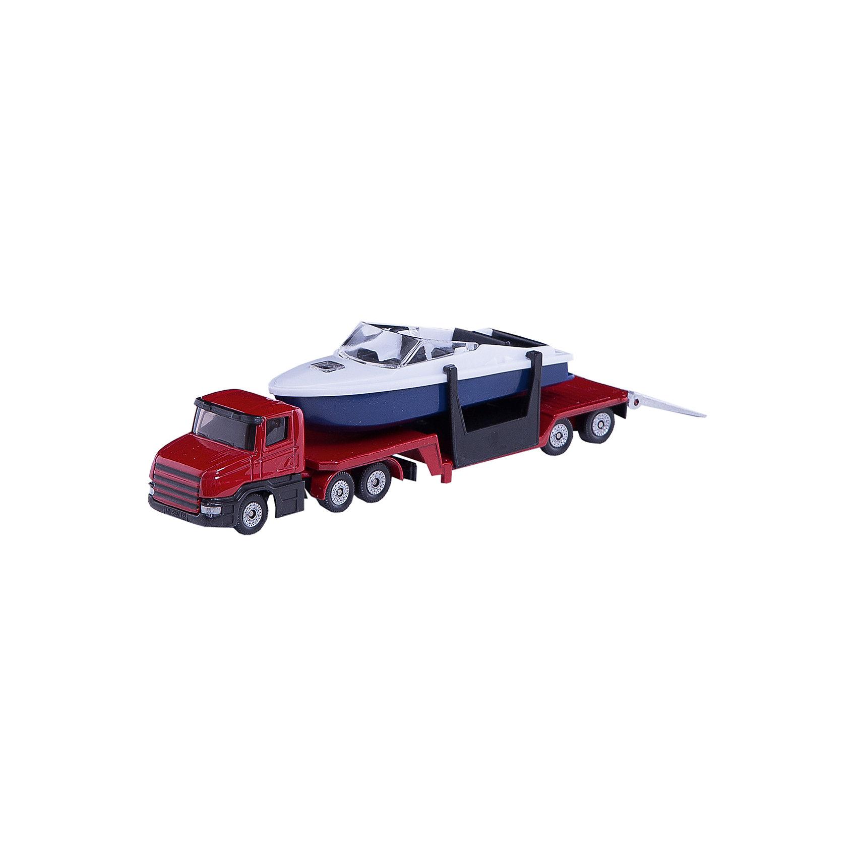 SIKU 1613 Низкорамный грузовик с катеромSIKU (СИКУ) 1613 Низкорамный грузовик с катером-это игрушечная модель тягача, корпус и прицеп которого выполнены из металла, стёкла из прозрачной тонированной пластмассы.<br><br>Колёса выполнены из пластмассы и вращаются, можно катать. Прицеп отцепляется от тягача, катер снимается с прицепа.<br><br>Дополнительная информация:<br>-Размер игрушки: 16,3 x 3,6 x 4,8 см<br>-Материал: металл с элементами пластмассы<br><br>Игрушечная модель грузовика с катером  дополнит коллекцию малыша. Игра с моделями транспортных средств от SIKU (СИКУ) развивает воображение, мышление, память, мелкую моторику рук и координацию движений детей.<br><br>SIKU (СИКУ) 1613 Низкорамный грузовик с катером можно купить в нашем магазине.<br><br>Ширина мм: 339<br>Глубина мм: 91<br>Высота мм: 40<br>Вес г: 130<br>Возраст от месяцев: 36<br>Возраст до месяцев: 96<br>Пол: Мужской<br>Возраст: Детский<br>SKU: 1036967