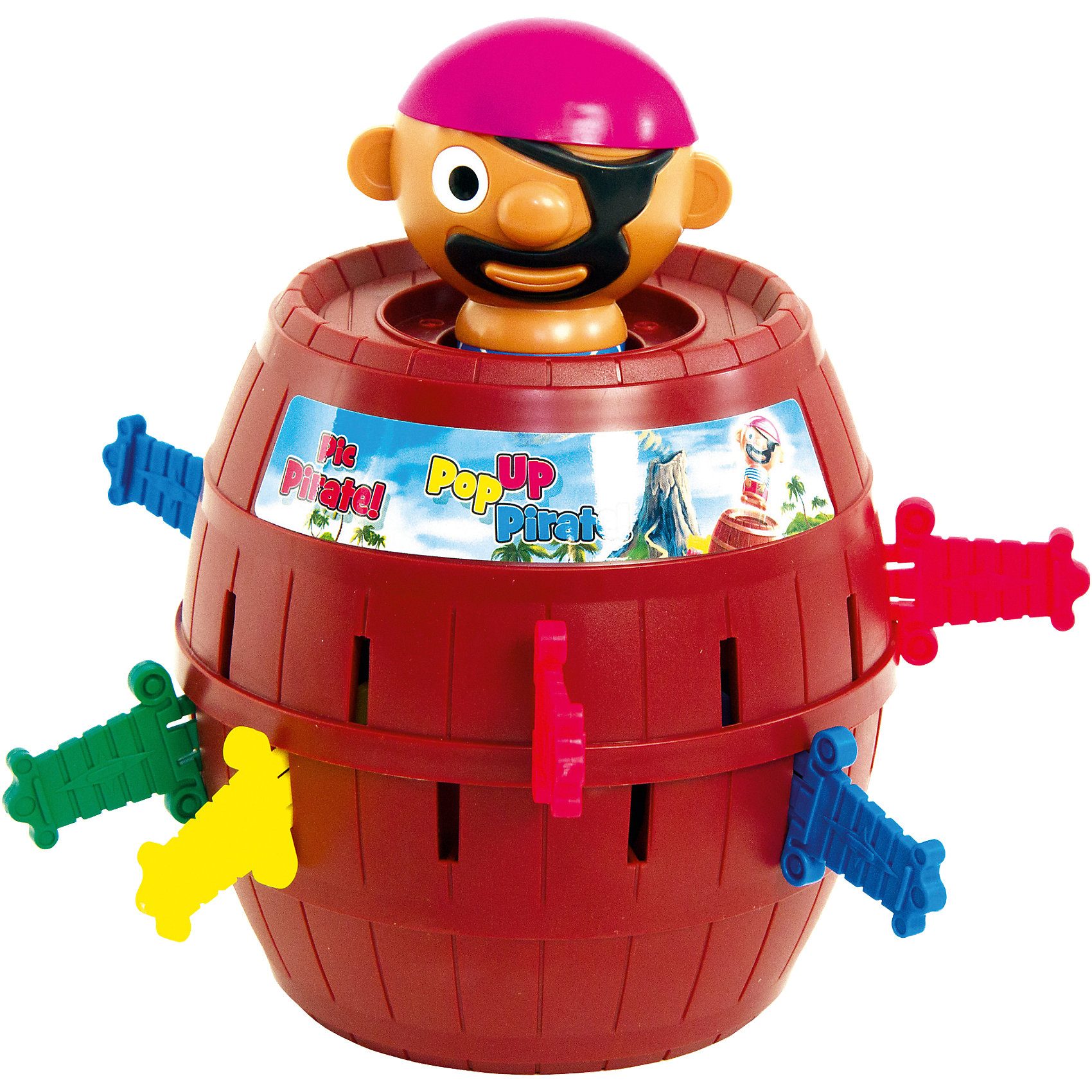Настольная игра Пират в бочке, TOMYПираты<br>Приключенческая игра Пират в бочке от Tomy (Томи) для настоящих любителей пиратов! Если Вы хотите заинтересовать свои ребятишек – то этот весёлый пират в бочке именно для Вас!<br><br>В эту игру дети могу играть как вдвоём, так и вчетвером. Каждый из игроков выбирает себе мечи определённого цвета. Эти мечи они должны втыкать по очереди в бочку (для этого в ней есть специальные маленькие отверстия). Но не всё так просто! В любой момент из бочки может выскочить одноглазый хитрый пират, почувствовав на себе укол меча!  При выпрыгивании пирата, последний игрок, воткнувший  в отверстие бочки свой меч, выбывает.<br><br>Игра подойдёт для любого детского праздника и развлёчёт каждого!<br><br>Таким занимательным способом дети не только получают неописуемое удовольствие, более того, таким образом, у них развивается концентрация, внимания и ловкость движения! А ведь это как раз самые необходимые навыки для Вашего ребёнка  в возрасте от 4-х лет!<br><br>В наборе:<br>- фигурка одноглазого пирата<br>- бочка<br>- различные налейки<br>- яркие мечи разных цветов<br><br>Дополнительная информация:<br>Размеры – 14 х 19,2 х 14 см<br>Размер упаковки – 21 х 15 х 27 см<br>Вес – 620 гр<br>Материал – высококачественный пластик<br><br>Настольную игру Пират в бочке от Томи Вы можете купить в нашем интернет-магазине.<br><br>Ширина мм: 272<br>Глубина мм: 215<br>Высота мм: 152<br>Вес г: 606<br>Возраст от месяцев: 48<br>Возраст до месяцев: 84<br>Пол: Унисекс<br>Возраст: Детский<br>SKU: 1213141