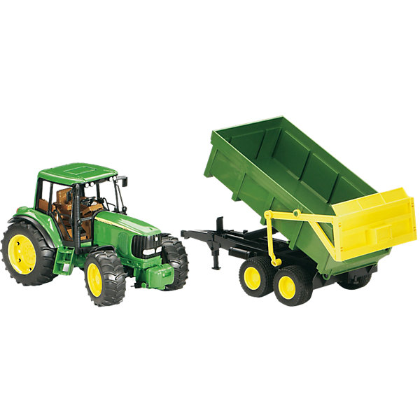 Трактор John Deere с прицепом, BruderМашинки<br>Трактор John Deere с прицепом, Bruder (Брудер) - это качественная детализированная игрушка с подвижными элементами.<br>Трактор John Deere с прицепом от немецкого производителя игрушек Bruder (Брудер) - это уменьшенная полноценная копия настоящей машины! Модель отличается высокой степенью детализации. Сидение водителя, рулевое колесо, декоративные рычаги – все это тщательно проработано. Даже протекторы шин на колесах трактора имитируют оригинал. Трактор оснащен съемным прицепом и фаркопом для прицепных устройств. Прицеп-самосвал откидывается и фиксируется в верхнем положении. Задний борт открываются. Капот трактора поднимается, открывая доступ к двигателю. Передняя ось оснащена амортизатором, что позволит трактору сохранять устойчивость на любых труднопроходимых участках дороги, легко преодолевая препятствия на своём пути. Широкие большие колёса трактора с крупным протектором обеспечивают хорошую проходимость. Колеса прорезиненные. Они не гремят при езде и не царапают пол. Управление передними колесами осуществляется с помощью руля в кабине или дополнительного руля, который вставляется через отодвигающее отверстие на крыше трактора. Игрушка изготовлена из высококачественного пластика, устойчивого к износу и ударам. Продукция сертифицирована, экологически безопасна для ребенка, использованные красители не токсичны и гипоаллергенны.<br><br>Дополнительная информация:<br><br>- Комплектация: трактор, прицеп-самосвал<br>- Масштаб 1:16<br>- Размер трактора с прицепом: 67 х 16,5 х 17,7 см.<br>- Материал: высококачественный ударопрочный пластик АБС<br>- Цвет: зеленый, черный, желтый<br><br>Трактор John Deere с прицепом, Bruder (Брудер) можно купить в нашем интернет-магазине.<br><br>Ширина мм: 673<br>Глубина мм: 225<br>Высота мм: 185<br>Вес г: 1462<br>Возраст от месяцев: 36<br>Возраст до месяцев: 96<br>Пол: Мужской<br>Возраст: Детский<br>SKU: 1220888