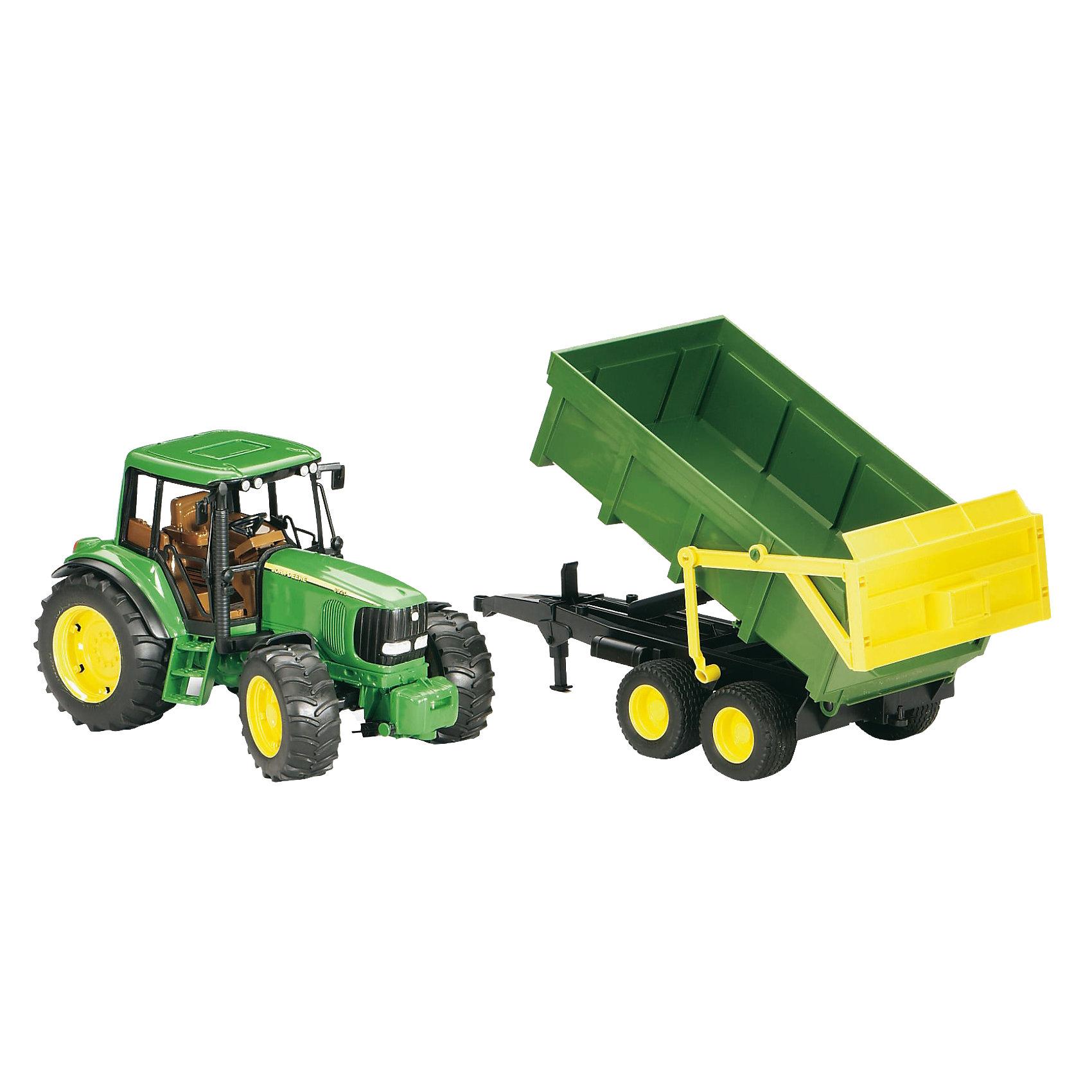 Трактор John Deere с прицепом, BruderМашинки<br>Трактор John Deere с прицепом, Bruder (Брудер) - это качественная детализированная игрушка с подвижными элементами.<br>Трактор John Deere с прицепом от немецкого производителя игрушек Bruder (Брудер) - это уменьшенная полноценная копия настоящей машины! Модель отличается высокой степенью детализации. Сидение водителя, рулевое колесо, декоративные рычаги – все это тщательно проработано. Даже протекторы шин на колесах трактора имитируют оригинал. Трактор оснащен съемным прицепом и фаркопом для прицепных устройств. Прицеп-самосвал откидывается и фиксируется в верхнем положении. Задний борт открываются. Капот трактора поднимается, открывая доступ к двигателю. Передняя ось оснащена амортизатором, что позволит трактору сохранять устойчивость на любых труднопроходимых участках дороги, легко преодолевая препятствия на своём пути. Широкие большие колёса трактора с крупным протектором обеспечивают хорошую проходимость. Колеса прорезиненные. Они не гремят при езде и не царапают пол. Управление передними колесами осуществляется с помощью руля в кабине или дополнительного руля, который вставляется через отодвигающее отверстие на крыше трактора. Игрушка изготовлена из высококачественного пластика, устойчивого к износу и ударам. Продукция сертифицирована, экологически безопасна для ребенка, использованные красители не токсичны и гипоаллергенны.<br><br>Дополнительная информация:<br><br>- Комплектация: трактор, прицеп-самосвал<br>- Масштаб 1:16<br>- Размер трактора с прицепом: 67 х 16,5 х 17,7 см.<br>- Материал: высококачественный ударопрочный пластик АБС<br>- Цвет: зеленый, черный, желтый<br><br>Трактор John Deere с прицепом, Bruder (Брудер) можно купить в нашем интернет-магазине.<br><br>Ширина мм: 675<br>Глубина мм: 222<br>Высота мм: 182<br>Вес г: 1440<br>Возраст от месяцев: 36<br>Возраст до месяцев: 96<br>Пол: Мужской<br>Возраст: Детский<br>SKU: 1220888