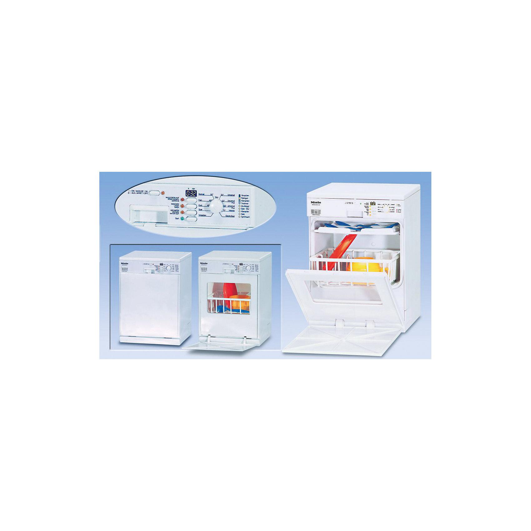 Посудомоечная машина Miele, KleinИгрушечная бытовая техника<br>С игрушечными бытовыми приборами Кляйн (Klein) кухня маленькой хозяйки станет еще более современной и реалистичной. Посудомоечная машина Miele, Klein - точная копия своего взрослого прототипа, с функциями, адаптированными для детской игры. Игрушка моет посуду водой, которая заливается в специальный отсек в верхней части машины, объем около 0,15 литров. В нижней части есть индикатор уровня воды. Слив в посудомойке производится через шланг на задней стенке машины.<br><br>Кнопки на панели запускают различные процессы: наполнение машины водой, мойка, слив, каждый этап длится около 15 секунд и имеет свой характерный звук. При нажатии кнопки Start автоматически включается полный цикл всех программ последовательно. В комплект также входят разнообразные аксессуары для игры: тарелка, чашки, лотки для посуды. Посудомоечная машина Кляйн послужит прекрасным дополнением к детской кухне.<br><br>Дополнительная информация:<br><br>- В комплекте: посудомоечная машина, тарелка, ложка, чашка, лоток для крупной посуды, лоток для мелкой посуды.<br>- Материал: пластик.<br>- Требуются батарейки: 3 х R14 (не входят в комплект).<br>- Размеры машины: 19 х 19 х 27 см. <br>- Размер упаковки: 28 x 23,5 x 20 см.<br>- Вес: 1,9 кг.<br><br>Посудомоечную машину Miele, Klein можно купить в нашем интернет-магазине.<br><br>Ширина мм: 200<br>Глубина мм: 233<br>Высота мм: 280<br>Вес г: 1910<br>Возраст от месяцев: 36<br>Возраст до месяцев: 1164<br>Пол: Женский<br>Возраст: Детский<br>SKU: 1404534