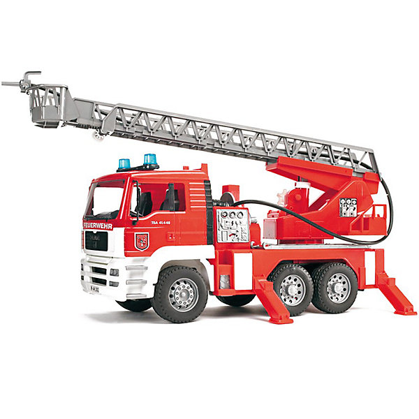 Пожарная машина MAN, BruderИдеи подарков<br>Пожарная машина MAN с наклоняемой кабиной водителя от Bruder (Брудер) станет прекрасным дополнением коллекции автомобилей специального назначения. <br><br>Особенности:<br><br>- можно увидеть двигатель<br>- полнофункциональный насос для воды и шланг<br>- встроенный наполняемый бак для воды<br>- поворотная выдвижная лестница, регулируемая по высоте<br>- спасательная люлька, сматываемый пожарный шланг<br>- складные зеркала<br>- 4 стойки<br>- профильные шины<br>- модуль световой и звуковой сигнализации: 4 различные функции: гудок, звук работающего двигателя, проблесковый маячок и сирена<br><br>Дополнительная информация:<br><br>- для работы необходимы батарейки типа ААА (в комплект не входят)<br>- размеры: длина 47см x ширина 18см x высота 24см<br>- масштаб 1:16<br>- произведен из высококачественных пластиков<br>- каска в комплект не входит<br><br>Пожарную машину MAN от Bruder (Брудер) можно купить в нашем магазине.<br>Ширина мм: 531; Глубина мм: 299; Высота мм: 195; Вес г: 2052; Возраст от месяцев: 36; Возраст до месяцев: 96; Пол: Мужской; Возраст: Детский; SKU: 1422599;