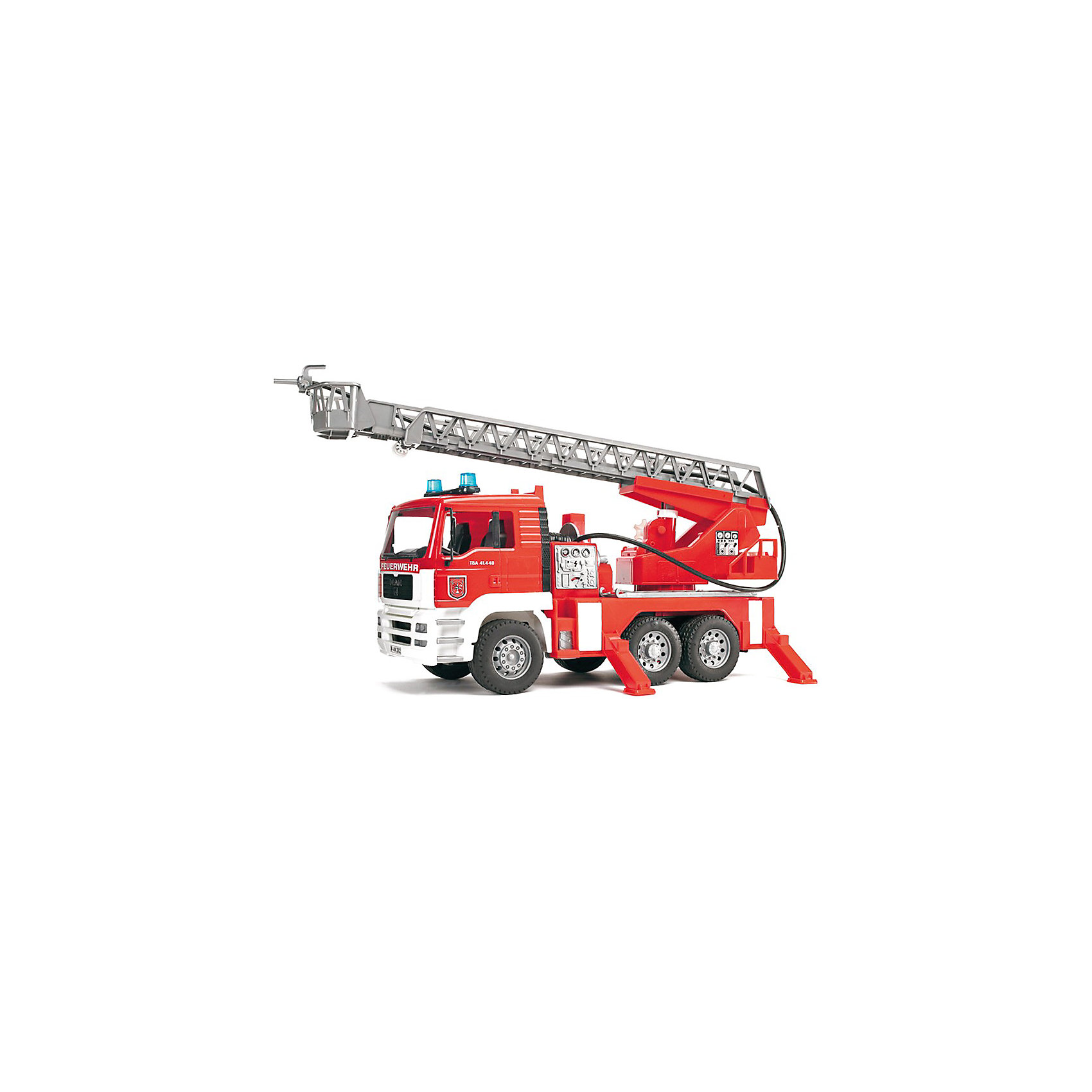 Пожарная машина MAN, BruderИдеи подарков<br>Пожарная машина MAN с наклоняемой кабиной водителя от Bruder (Брудер) станет прекрасным дополнением коллекции автомобилей специального назначения. <br><br>Особенности:<br><br>- можно увидеть двигатель<br>- полнофункциональный насос для воды и шланг<br>- встроенный наполняемый бак для воды<br>- поворотная выдвижная лестница, регулируемая по высоте<br>- спасательная люлька, сматываемый пожарный шланг<br>- складные зеркала<br>- 4 стойки<br>- профильные шины<br>- модуль световой и звуковой сигнализации: 4 различные функции: гудок, звук работающего двигателя, проблесковый маячок и сирена<br><br>Дополнительная информация:<br><br>- для работы необходимы батарейки типа ААА (в комплект не входят)<br>- размеры: длина 47см x ширина 18см x высота 24см<br>- масштаб 1:16<br>- произведен из высококачественных пластиков<br>- каска в комплект не входит<br><br>Пожарную машину MAN от Bruder (Брудер) можно купить в нашем магазине.<br><br>Ширина мм: 528<br>Глубина мм: 279<br>Высота мм: 187<br>Вес г: 2033<br>Возраст от месяцев: 36<br>Возраст до месяцев: 96<br>Пол: Мужской<br>Возраст: Детский<br>SKU: 1422599