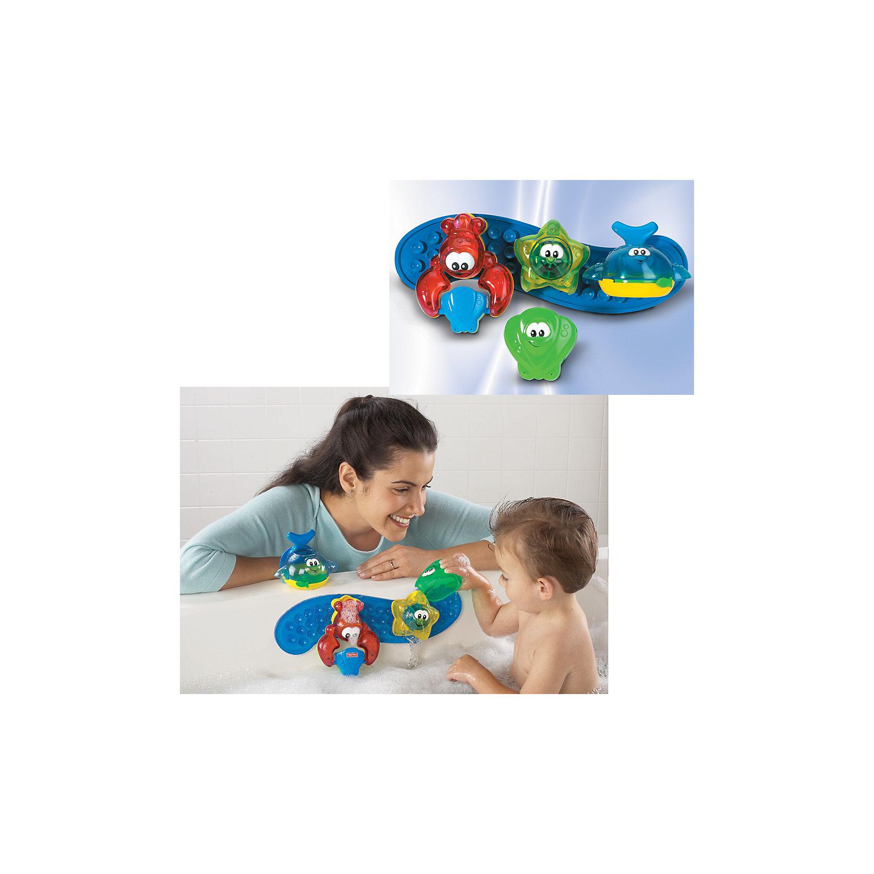 Fisher-Price Игрушка для ванной Подводная командаИгровая панель Подводная команда для весёлых игр в ванной от Fisher-Price.<br><br>Игрушка состоит из четырех морских зверюшек, каждая из которых совершает интересные действия:<br><br>- внутри синего кита поворачивается рычажок, который регулирует скорость выливания воды<br>- красный краб с ведерком, которое переворачивается, если в него налить много воды<br>- морская звезда, внутри которой находится водяная мельничка<br>- ракушка, в которую можно набирать воду, чтобы лить на других зверюшек<br><br>Все зверюшка крепятся с помощью игровой панели на присосках на край ванны.<br><br>Дополнительная информация:<br><br>- Размер панели: 36х10 см<br><br>Ширина мм: 386<br>Глубина мм: 110<br>Высота мм: 165<br>Вес г: 673<br>Возраст от месяцев: 6<br>Возраст до месяцев: 36<br>Пол: Унисекс<br>Возраст: Детский<br>SKU: 1430057