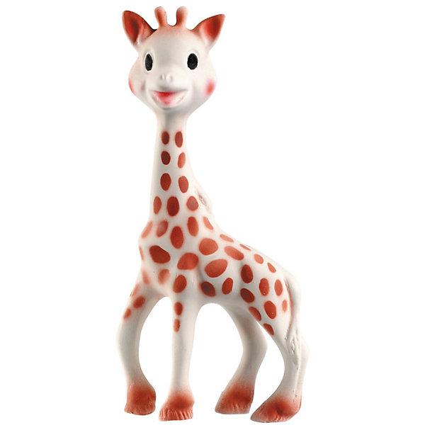 Жирафик Софи, 18 см, VulliИдеи подарков<br>Жирафик Софи Vulli (Вулли) - уникальная развивающая игрушка Жирафик Софи!<br><br>Игрушка взаимодействует с пятью органами чувств малыша: обоняние, осязание, зрение, слух, моторика. Форма и размеры Жирафика Софи (18см.) идеальны для маленьких ручек. Она очень легкая, а ее длинные копытца и шея очень подходят для развития хватательного инстинкта с самых ранних дней. <br>  <br>Жирафик Софи сделана из 100% натурального каучука, полученного из сока дерева Гевеи, и покрыта краской на пищевой основе, абсолютно безопасной для жевания. Ее нежная текстура и шероховатые части, которые можно жевать, делают ее идеальной для смягчения боли в деснах малыша во время прорезывания зубов.<br><br>Мягкая поверхность Жирафика Софи развивает физиологические, психологические и эмоциональные ощущения, успокаивает малыша и обеспечивает здоровый рост и правильное развитие. Темные пятнышки на теле жирафа обеспечивают стимуляцию органов зрения малыша. <br><br>Неповторимый аромат натурального каучука из сока дерева Гевеи делает Софи особенной и легко узнаваемой для малыша игрушкой.<br> <br>При нажатии на голову или живот Софи издает приятный писк для стимуляции органов слуха малыша.<br><br>Жирафика Софи Vulli можно купить в нашем интернет-магазине.<br><br>Дополнительная информация:<br><br>- Размер игрушки 18 см.<br>- Материал: 100% натуральный каучук.<br><br>Жирафика Софи Vulli, 18 см можно купить в нашем магазине.<br>Ширина мм: 256; Глубина мм: 144; Высота мм: 53; Вес г: 113; Возраст от месяцев: 0; Возраст до месяцев: 36; Пол: Унисекс; Возраст: Детский; SKU: 1432982;