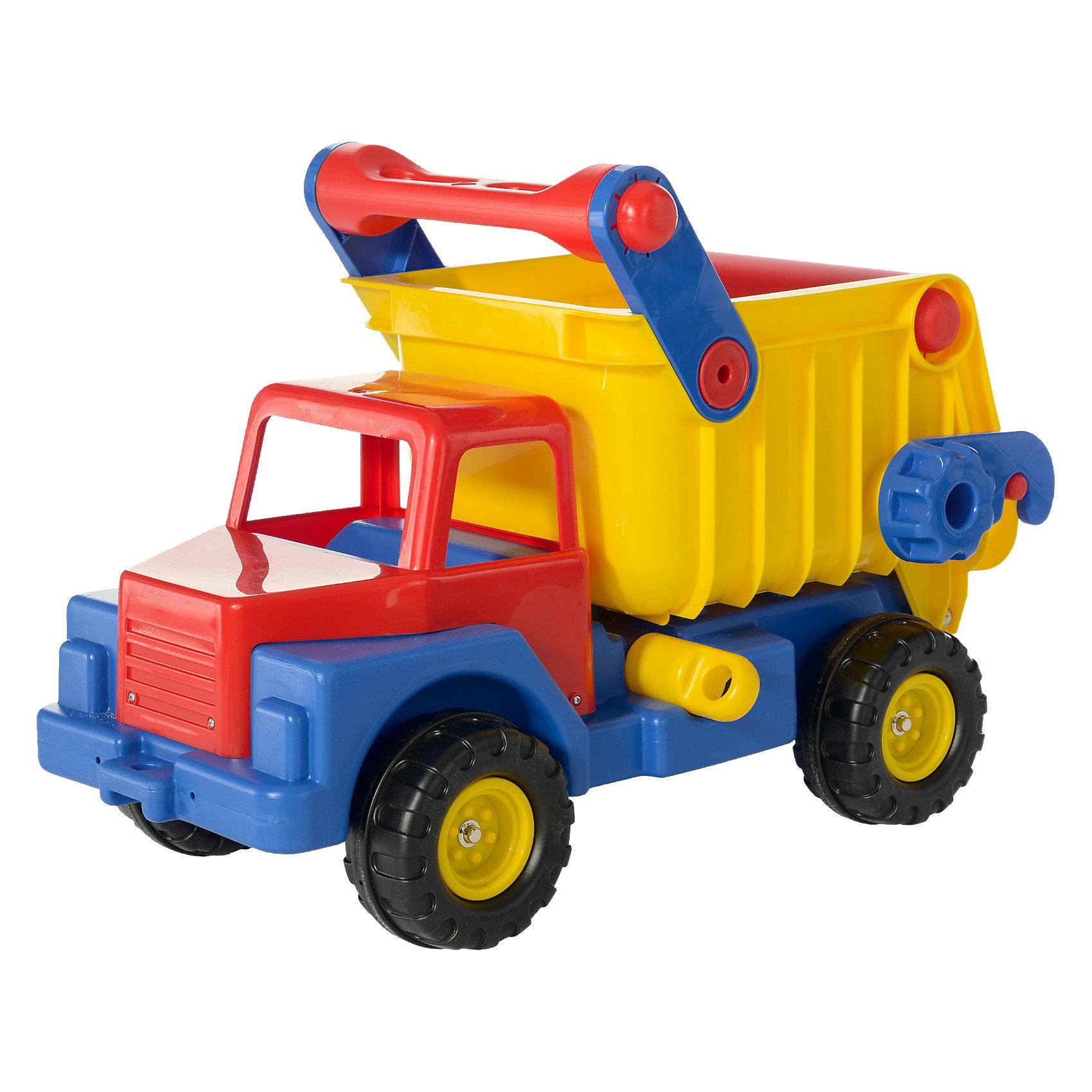 Автомобиль-самосвал №1, ПолесьеИграем в песочнице<br>Для многих детей, а особенно для мальчиков, важно наличие разнообразных машинок в арсенале игрушек. Они позволяют познакомиться с разными видами транспортных средств, понять, как они устроены. Для некоторых малышей любовь к автомобилям определяет дальнейшую профессию, формирует установки на будущее. Так как часто сценарии для игр с машинками имеют достаточно экстремальный характер, игрушечные автомобили часто получают повреждения и, в итоге, ломаются. Благодаря прочности материала, из которого изготавливаются автомобили компании «Полесье», любимые игрушки надолго остаются рядом с детьми! Автомобиль-самосвал №1 вместит много разных игрушек ребенка и пригодится в песочнице. Для разгрузки самосвала нужно вытащить задвижку между кузовом и рамой, поднять кручок и поднять кузов. В процессе катания большого автомобиля ребенок развивает координацию движений, пространственное мышление и, конечно же, получает массу удовольствия.<br><br>Ширина мм: 750<br>Глубина мм: 545<br>Высота мм: 450<br>Вес г: 7120<br>Возраст от месяцев: 12<br>Возраст до месяцев: 48<br>Пол: Мужской<br>Возраст: Детский<br>SKU: 1456278