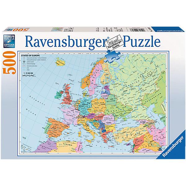 Пазл «Политическая карта Европы» 500 деталей, RavensburgerПазлы для детей постарше<br>Пазл «Политическая карта Европы» 500 деталей, Ravensburger (Равенсбургер) – это великолепный подарок, как для ребенка, так и для взрослого.<br>Пазл Политическая карта Европы - обучающий пазл для школьников. При сборке пазла ваш ребенок сможет выучить все страны Европы. Каждая страна имеет свой цвет. Ребенок сможет не только изучить карту, но и насладиться сборкой качественного пазла от Ravensburger. Собирая картинку, ребенок развивает логическое мышление, воображение, мелкую моторику и умение принимать самостоятельные решения. Пазлы Ravensburger неповторимы и уникальны тем, что для их изготовления используется картон наивысшего класса, благодаря которому сложенные головоломки не сгибаются, сам картон не отделяется от картинки, а сложенная картинка представляется абсолютно плоской и не деформируется даже спустя время. Прочные детали не ломаются. Каждая деталь имеет свою форму и подходит только на своё место. Матовая поверхность исключает неприятные отблески. Изготовлено из экологического сырья.<br><br>Дополнительная информация:<br><br>- Количество деталей: 500<br>- Размер картинки: 36 х 49 см.<br>- Материал: картон<br>- Размер коробки: 34 x 4 х 23 см.<br><br>Пазл «Политическая карта Европы» 500 деталей, Ravensburger (Равенсбургер) можно купить в нашем интернет-магазине.<br><br>Ширина мм: 341<br>Глубина мм: 233<br>Высота мм: 41<br>Вес г: 516<br>Возраст от месяцев: 144<br>Возраст до месяцев: 228<br>Пол: Унисекс<br>Возраст: Детский<br>Количество деталей: 500<br>SKU: 1457422