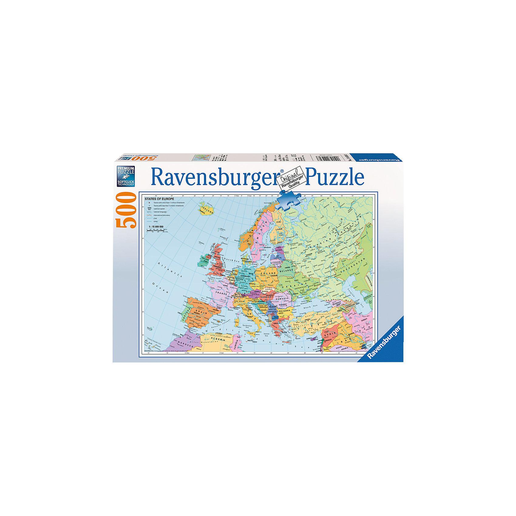 Пазл «Политическая карта Европы» 500 деталей, RavensburgerКлассические пазлы<br>Пазл «Политическая карта Европы» 500 деталей, Ravensburger (Равенсбургер) – это великолепный подарок, как для ребенка, так и для взрослого.<br>Пазл Политическая карта Европы - обучающий пазл для школьников. При сборке пазла ваш ребенок сможет выучить все страны Европы. Каждая страна имеет свой цвет. Ребенок сможет не только изучить карту, но и насладиться сборкой качественного пазла от Ravensburger. Собирая картинку, ребенок развивает логическое мышление, воображение, мелкую моторику и умение принимать самостоятельные решения. Пазлы Ravensburger неповторимы и уникальны тем, что для их изготовления используется картон наивысшего класса, благодаря которому сложенные головоломки не сгибаются, сам картон не отделяется от картинки, а сложенная картинка представляется абсолютно плоской и не деформируется даже спустя время. Прочные детали не ломаются. Каждая деталь имеет свою форму и подходит только на своё место. Матовая поверхность исключает неприятные отблески. Изготовлено из экологического сырья.<br><br>Дополнительная информация:<br><br>- Количество деталей: 500<br>- Размер картинки: 36 х 49 см.<br>- Материал: картон<br>- Размер коробки: 34 x 4 х 23 см.<br><br>Пазл «Политическая карта Европы» 500 деталей, Ravensburger (Равенсбургер) можно купить в нашем интернет-магазине.<br><br>Ширина мм: 341<br>Глубина мм: 233<br>Высота мм: 41<br>Вес г: 516<br>Возраст от месяцев: 144<br>Возраст до месяцев: 228<br>Пол: Унисекс<br>Возраст: Детский<br>Количество деталей: 500<br>SKU: 1457422