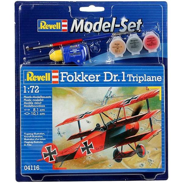 Набор самолета Model Set Fokker DR.0Самолеты и вертолеты<br>Характеристики товара:<br><br>• возраст: от 8 лет;<br>• масштаб: 1:72;<br>• количество деталей: 37 шт;<br>• материал: пластик; <br>• клей и краски в комплект не входят;<br>• длина модели: 8,1 см;<br>• размах крыльев: 10,1 см;<br>• бренд, страна бренда: Revell (Ревел), Германия;<br>• страна-изготовитель: Польша.<br><br>Набор для сборки «Самолет Model Set Fokker DR.0» поможет вам и вашему ребенку придумать увлекательное занятие на долгое время и весело провести свой досуг. <br><br>В набор для сборки входит модель  одноименного самолета, состоящая из отдельных пластиковых деталей, которые должны быть склеены  в нужной последовательности, после чего готовая модель корабля окрашивается специальной краской. Необходимые для проведения процесса сборки краски, кисточка и клей, а также подробная инструкция  входят в комплект набора.<br><br>Процесс сборки развивает интеллектуальные и инструментальные способности, воображение и конструктивное мышление, а также прививает практические навыки работы со схемами и чертежами. <br><br>Набор для сборки «Самолет Model Set Fokker DR.0», 37 дет., Revell (Ревел) можно купить в нашем интернет-магазине.<br><br>Ширина мм: 270<br>Глубина мм: 33<br>Высота мм: 230<br>Вес г: 210<br>Возраст от месяцев: 72<br>Возраст до месяцев: 1164<br>Пол: Мужской<br>Возраст: Детский<br>SKU: 1458400
