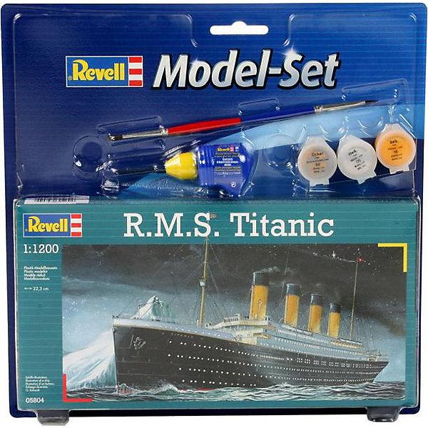 Набор Корабль R.M.S TitanicКорабли и подводные лодки<br>Характеристики товара:<br><br>• возраст: от 8 лет;<br>• масштаб: 1:1200;<br>• количество деталей: 40 шт;<br>• материал: пластик; <br>• клей и краски в комплект не входят;<br>• длина модели: 22,3 см;<br>• бренд, страна бренда: Revell (Ревел), Германия;<br>• страна-изготовитель: Польша.<br><br>Набор для сборки «Корабль R.M.S Titanic» поможет вам и вашему ребенку придумать увлекательное занятие на долгое время и весело провести свой досуг. <br><br>В набор для сборки входит модель  знаменитого корабля, состоящая из отдельных пластиковых деталей, которые должны быть склеены  в нужной последовательности, после чего готовая модель корабля окрашивается специальной краской. Необходимые для проведения процесса сборки краски, кисточка и клей, а также подробная инструкция  входят в комплект набора «Корабль R.M.S Titanic».<br><br>Процесс сборки развивает интеллектуальные и инструментальные способности, воображение и конструктивное мышление, а также прививает практические навыки работы со схемами и чертежами. <br><br>Набор для сборки «Корабль R.M.S Titanic», 40 дет., Revell (Ревел) можно купить в нашем интернет-магазине.<br><br>Ширина мм: 270<br>Глубина мм: 33<br>Высота мм: 270<br>Вес г: 275<br>Возраст от месяцев: 72<br>Возраст до месяцев: 1164<br>Пол: Мужской<br>Возраст: Детский<br>SKU: 1458422