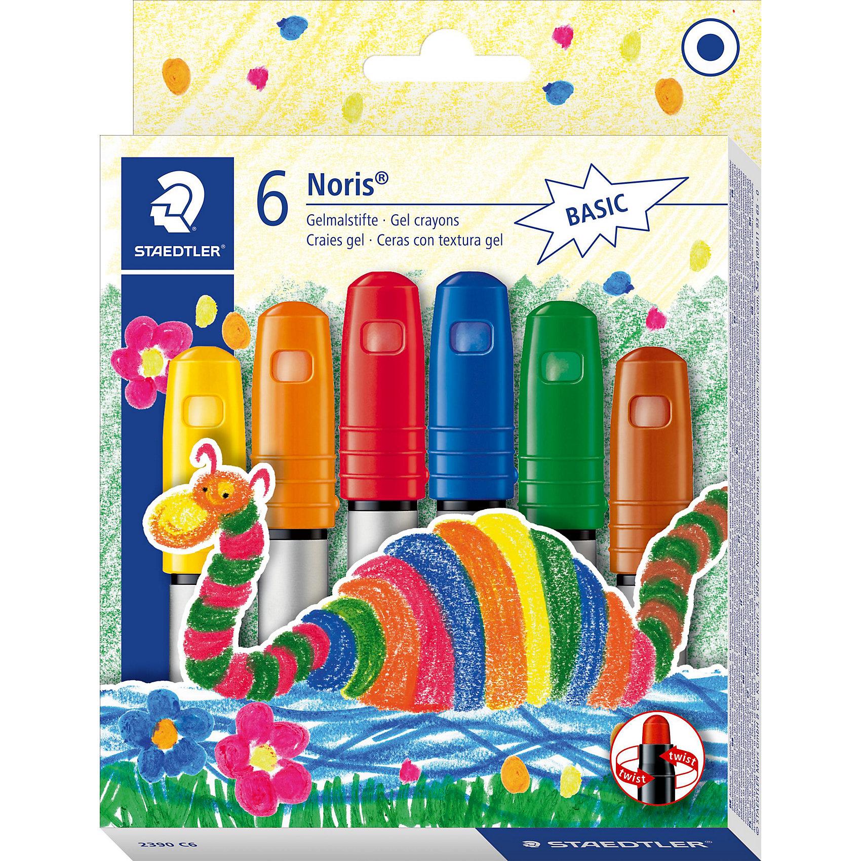 Гелевые мелки NorisClub, 6 цв.Рисование<br>Набор гелевых мелков Noris Club. Картонная упаковка, 6 цветов. Идеален для маленьких детей. Легко пользоваться: повернуть и рисовать. Экстра мягкость и яркие цвета. Цветовые эффекты: превосходные результаты на стекле, гладких и темных поверхностях.<br><br>Ширина мм: 185<br>Глубина мм: 140<br>Высота мм: 25<br>Вес г: 189<br>Возраст от месяцев: 36<br>Возраст до месяцев: 84<br>Пол: Унисекс<br>Возраст: Детский<br>SKU: 1462547