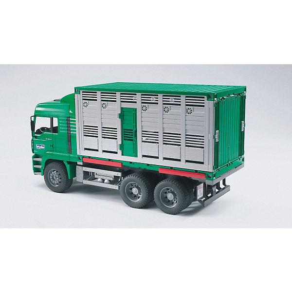 Bruder Грузовик MAN для перевозки животных с коровой и загрузочной платформойМашинки<br>Долгожданная новинка для любителей игрушек BRUDER (Брудер): современный грузовик для перевозки животных.<br>Компания BRUDER разработала грузовик с тремя осями на основе автомобиля MAN и этим еще раз доказала высокую игровую ценность своих товаров. <br>В грузовике есть все, что сегодня требуется для грузовика такого вида: возможность безопасной загрузки/выгрузки животных благодаря откидной рампе с удлинением, складным ограждением, складными перегородками внутри грузовика, чтобы размещать животных разных видов/пород, подвесные поилки и т.п. Для расширения игровых возможности с грузовиком можно использовать дополнительные аксессуары категорий H и M.<br><br><br>Дополнительная информация:<br>+ кабина водителя наклоняется, что позволяет увидеть двигатель <br>+ боковые зеркала на кабине водителя раскладываются <br>+ кузов разбирается на более мелкие детали <br>+ кузова сочетаются друг с другом благодаря новой системе соединения деталей  <br>+ кузов можно установить на откидные опоры   <br>+ откидная рампа с удлинением<br>+ складные боковые ограждения на рампе <br>+ 2 открывающиеся двери <br>+ складные разделительные перегородки внутри грузовика <br>+ 2 подвесных поилки на боковых стенках <br>+ 1 корова (входит в комплект)<br>+ произведен из высококачественных пластиков, например, АБС<br>+ масштаб 1:16<br>+ размеры: длина 52см x ширина 19см x высота 27см<br>+ сочетается с аксессуарами категорий H, M<br><br>Ширина мм: 587<br>Глубина мм: 281<br>Высота мм: 198<br>Вес г: 2634<br>Возраст от месяцев: 36<br>Возраст до месяцев: 96<br>Пол: Мужской<br>Возраст: Детский<br>SKU: 1471077
