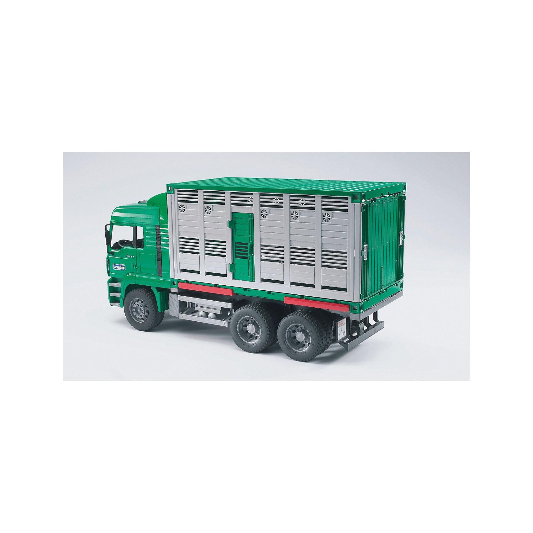 Bruder Грузовик MAN для перевозки животных с коровой и загрузочной платформойМашинки<br>Долгожданная новинка для любителей игрушек BRUDER (Брудер): современный грузовик для перевозки животных.<br>Компания BRUDER разработала грузовик с тремя осями на основе автомобиля MAN и этим еще раз доказала высокую игровую ценность своих товаров. <br>В грузовике есть все, что сегодня требуется для грузовика такого вида: возможность безопасной загрузки/выгрузки животных благодаря откидной рампе с удлинением, складным ограждением, складными перегородками внутри грузовика, чтобы размещать животных разных видов/пород, подвесные поилки и т.п. Для расширения игровых возможности с грузовиком можно использовать дополнительные аксессуары категорий H и M.<br><br><br>Дополнительная информация:<br>+ кабина водителя наклоняется, что позволяет увидеть двигатель <br>+ боковые зеркала на кабине водителя раскладываются <br>+ кузов разбирается на более мелкие детали <br>+ кузова сочетаются друг с другом благодаря новой системе соединения деталей  <br>+ кузов можно установить на откидные опоры   <br>+ откидная рампа с удлинением<br>+ складные боковые ограждения на рампе <br>+ 2 открывающиеся двери <br>+ складные разделительные перегородки внутри грузовика <br>+ 2 подвесных поилки на боковых стенках <br>+ 1 корова (входит в комплект)<br>+ произведен из высококачественных пластиков, например, АБС<br>+ масштаб 1:16<br>+ размеры: длина 52см x ширина 19см x высота 27см<br>+ сочетается с аксессуарами категорий H, M<br><br>Ширина мм: 589<br>Глубина мм: 284<br>Высота мм: 200<br>Вес г: 2622<br>Возраст от месяцев: 36<br>Возраст до месяцев: 96<br>Пол: Мужской<br>Возраст: Детский<br>SKU: 1471077