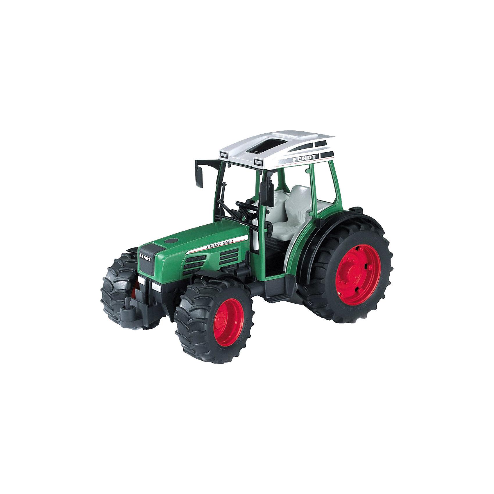 Трактор Fendt 209 S, BruderМашинки<br>Трактор Fendt 209 S от Bruder (Брудер) - это уменьшенная модель настоящего сельскохозяйственного трактора, выполненная в высоком качестве и с большим вниманием к деталям. Этот небольшой компактный трактор предназначен для работы в альпийских условиях, на фермах, пастбищах и виноградниках. Трактор оснащен кабиной и сиденьем водителя внутри, имеются складные зеркала заднего вида. Передние колеса управляются с помощью руля в кабине или с помощью удлинителя руля, который устанавливается через люк в крыше кабины. <br><br>У трактора мощные прорезиненные колеса, что обеспечивает сохранность напольного покрытия. Передняя ось оснащена амортизатором, имеются сцепное устройство и подвижный передний мост. На трактор можно установить дополнительное навесное оборудование (косилки, ковши, плуг, борону) (в комплект не входит).<br><br>Дополнительная информация:<br><br>- Масштаб: 1:16.<br>- Материал: высококачественный пластик, резина. <br>- Размер игрушки: 23,6 x 13 x 15 см.<br>- Размер упаковки: 27 х 15 х 18 см.<br>- Вес: 0,463 кг.<br><br>Трактор Fendt 209 S Bruder можно купить в нашем интернет-магазине.<br><br>Ширина мм: 302<br>Глубина мм: 218<br>Высота мм: 167<br>Вес г: 492<br>Возраст от месяцев: 36<br>Возраст до месяцев: 96<br>Пол: Мужской<br>Возраст: Детский<br>SKU: 1471090