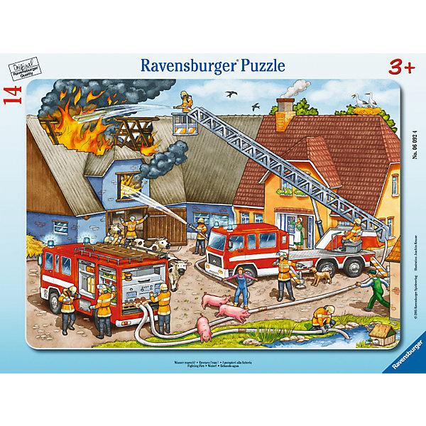 Пазл «Борьба с огнем», 14 деталей, RavensburgerПазлы для малышей<br>Пазл Борьба с огнем от немецкого производителя Ravensburger создан для самых маленьких, для тех, кто только начинает знакомство с пазлами. Малышу предстоит вставлять в соответствующие по форме отверстия детали, которые изготовлены из высококачественного, гипоаллергенного картона. Они достаточно крупные, поэтому в процессе сборки у ребенка не возникнет трудностей. Так же сама картинка подскажет ребёнку, что огонь- не всегда друг человека. Красочный пазл можно приобрести в нашем магазине.<br><br>В товар входит:<br>-14 деталей<br><br>Дополнительная информация<br>-Размер картинки – 25*14,5 см <br>-Размер упаковки – 29,5*19 см<br>-Возраст: от 3 лет<br>-Для мальчиков и девочек<br>-Состав: картон<br>-Бренд: Ravensburger (Равенсбургер)<br>-Страна обладатель бренда: Германия<br>Ширина мм: 375; Глубина мм: 292; Высота мм: 7; Вес г: 293; Возраст от месяцев: 36; Возраст до месяцев: 60; Пол: Унисекс; Возраст: Детский; Количество деталей: 17; SKU: 1481237;