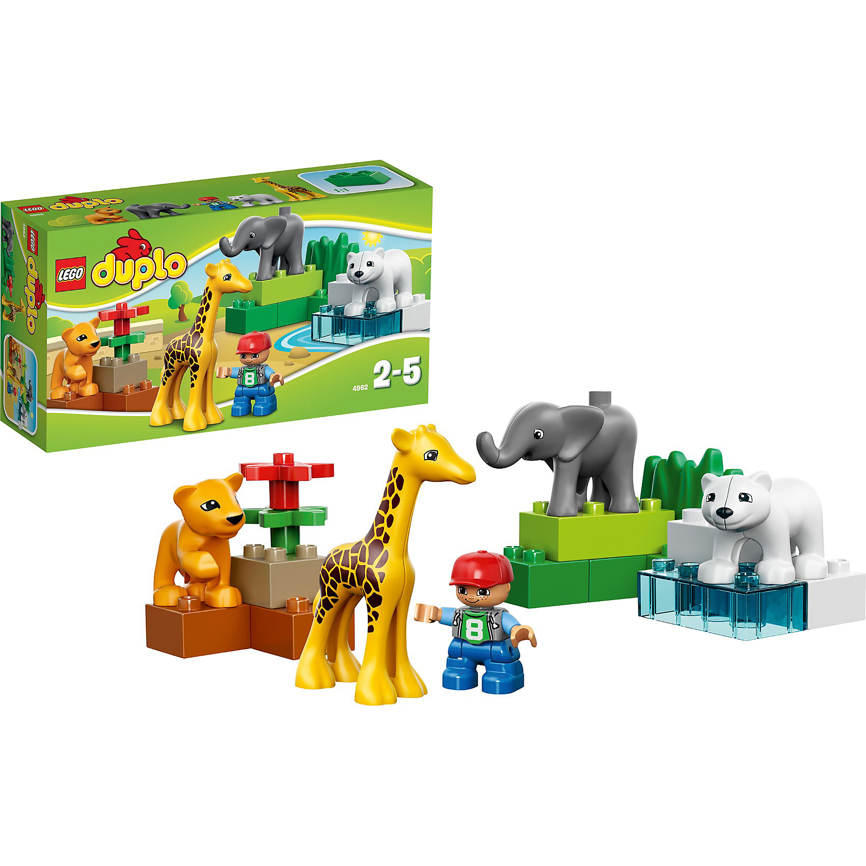 LEGO DUPLO 4962 Ville: Зоопарк для малышейЧудесный набор DUPLO Ville Зоопарк для малышей (LEGO № 4962) на тему Зоопарк с множеством новых фигурок детенышей животных для ухода и игр.     <br><br>Маленьким зверятам нужно много заботы и внимания. Смотрительница каждый день тщательно ухаживает за маленькими жирафами, полярными медвежатами и львятами.     <br>      <br>Особенности:    <br>      <br>- 4 фигурки детенышей животных  <br>- 1 фигурка смотрителя зоопарка<br>          <br>Дополнительная информация:<br>      <br>- LEGO-артикул № 4962<br>- Возраст:  от 2 до 5 лет<br>- Количество деталей LEGO: 18<br>    <br>LEGO DUPLO 4962 Ville: Зоопарк для малышей можно купить в нашем магазине.<br><br>Ширина мм: 266<br>Глубина мм: 144<br>Высота мм: 76<br>Вес г: 285<br>Возраст от месяцев: 24<br>Возраст до месяцев: 60<br>Пол: Женский<br>Возраст: Детский<br>SKU: 1492738
