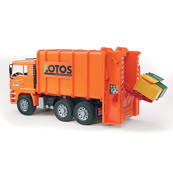 Мусоровоз MAN, BruderИдеи подарков<br>Мусоровоз MAN - модель настоящего автомобиля, выполненная в масштабе 1:16!<br><br>Малыши заворожено смотрят, когда приезжает мусоровоз и опорожняет большие и маленькие мусорные баки, создавая при этом огромный шум.<br><br>Современный мусоровоз с подъемным устройством в задней части перемещает мусор с помощью двух шнеков в прессовальную камеру. <br>Мусоровоз может опорожнять как маленькие мусорные баки, так и контейнеры. <br>Выгрузка бака происходит через открытую заднюю крышку, которая фиксируется в конечном положении. <br><br>Особенности игрушки:<br><br>- кабина водителя наклоняется, что позволяет увидеть двигатель<br>- складные боковые зеркала<br>- подвижная платформа для подъема баков<br>- 2 откидных удерживающих траверсы<br>- транспортировка мусора в прессовальную камеру с помощью поворотной ручки<br>- открывающийся задний борт<br>- откидная загрузочная камера<br>- профильные шины<br>- 2 мусорных бака<br><br>Дополнительная информация:<br><br>- Размеры: 50см x 25,7см x 18,5см<br>- Материал: пластмасса.<br>- Цвет: оранжевый.<br>- Вес: 2,5 кг.<br><br>Мусоровоз MAN от Bruder (Брудер) можно купить в нашем магазине.<br><br>Ширина мм: 580<br>Глубина мм: 278<br>Высота мм: 201<br>Вес г: 2179<br>Возраст от месяцев: 36<br>Возраст до месяцев: 96<br>Пол: Мужской<br>Возраст: Детский<br>SKU: 1503714