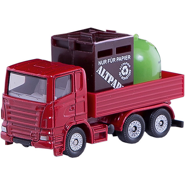SIKU 0828 Грузовик с мусорными контейнерамиМашинки<br>SIKU (СИКУ) 0828 Грузовик с мусорными контейнерами<br><br>Кабина и шасси выполнены из металла, лобовое стекло и боковые стёкла из прозрачного пластика, кузов выполнен из пластмассы, кузов не поднимается, колёса вращаются, выполнены из пластика. Мусорные контейнеры выполнены из пластика и вынимаются из кузова.<br><br>Дополнительная информация:<br>-Размер игрушки: 7,5 x 3,0 x 4,3 см<br>-Материал: металл с элементами пластмассы<br>-Масштаб 1:50<br><br>С коллекцией моделей грузовиков и тяжелой техники от SIKU (СИКУ) вы сможете создать собственный уникальный автопарк.<br><br>SIKU (СИКУ) 0828 Грузовик с мусорными контейнерами можно купить в нашем магазине.<br>Ширина мм: 96; Глубина мм: 76; Высота мм: 30; Вес г: 57; Возраст от месяцев: 36; Возраст до месяцев: 96; Пол: Мужской; Возраст: Детский; SKU: 1503769;