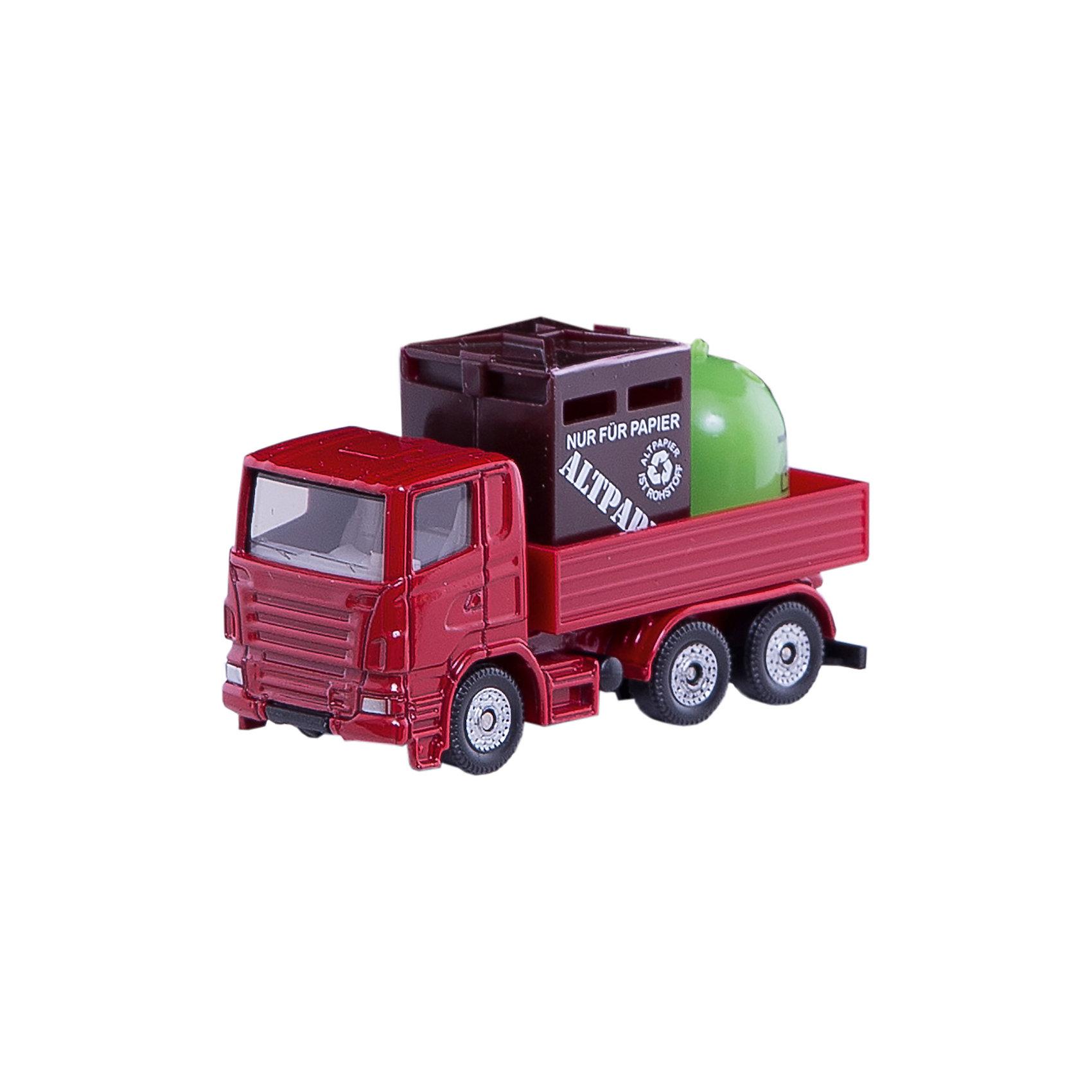 SIKU 0828 Грузовик с мусорными контейнерамиМашинки<br>SIKU (СИКУ) 0828 Грузовик с мусорными контейнерами<br><br>Кабина и шасси выполнены из металла, лобовое стекло и боковые стёкла из прозрачного пластика, кузов выполнен из пластмассы, кузов не поднимается, колёса вращаются, выполнены из пластика. Мусорные контейнеры выполнены из пластика и вынимаются из кузова.<br><br>Дополнительная информация:<br>-Размер игрушки: 7,5 x 3,0 x 4,3 см<br>-Материал: металл с элементами пластмассы<br>-Масштаб 1:50<br><br>С коллекцией моделей грузовиков и тяжелой техники от SIKU (СИКУ) вы сможете создать собственный уникальный автопарк.<br><br>SIKU (СИКУ) 0828 Грузовик с мусорными контейнерами можно купить в нашем магазине.<br><br>Ширина мм: 96<br>Глубина мм: 76<br>Высота мм: 30<br>Вес г: 57<br>Возраст от месяцев: 36<br>Возраст до месяцев: 96<br>Пол: Мужской<br>Возраст: Детский<br>SKU: 1503769