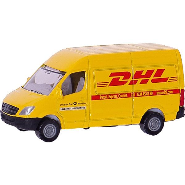 SIKU 1085 Почтовый фургонМашинки<br>SIKU (СИКУ) 1085 Почтовый фургон Модель фургона всемирно известной почтовой компании DHL. Автомобиль выполнен с максимальной точностью.<br><br>Корпус выполнен из металла и покрыт яркой желтой краской, лобовое и заднее стёкла из прозрачной тонированной пластмассы, колёса выполнены из пластика и вращаются, можно катать. Сзади имеется крепление для прицепа.<br><br>Дополнительная информация:<br>-Материал: пластик, резина, металл<br>-Размер игрушки: 8,2 x 3,3 x 3,4 см<br>-Масштаб  1:50<br><br>Подарок будет приятно получить как ребенку, так и взрослому, если получатель является сотрудником данной компании. <br><br>SIKU (СИКУ) 1085 Почтовый фургон можно купить в нашем магазине.<br>Ширина мм: 96; Глубина мм: 76; Высота мм: 30; Вес г: 57; Возраст от месяцев: 36; Возраст до месяцев: 96; Пол: Мужской; Возраст: Детский; SKU: 1503782;