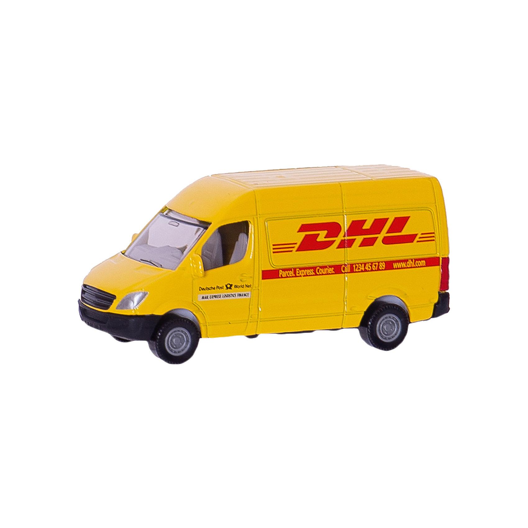 SIKU 1085 Почтовый фургонМашинки<br>SIKU (СИКУ) 1085 Почтовый фургон Модель фургона всемирно известной почтовой компании DHL. Автомобиль выполнен с максимальной точностью.<br><br>Корпус выполнен из металла и покрыт яркой желтой краской, лобовое и заднее стёкла из прозрачной тонированной пластмассы, колёса выполнены из пластика и вращаются, можно катать. Сзади имеется крепление для прицепа.<br><br>Дополнительная информация:<br>-Материал: пластик, резина, металл<br>-Размер игрушки: 8,2 x 3,3 x 3,4 см<br>-Масштаб  1:50<br><br>Подарок будет приятно получить как ребенку, так и взрослому, если получатель является сотрудником данной компании. <br><br>SIKU (СИКУ) 1085 Почтовый фургон можно купить в нашем магазине.<br><br>Ширина мм: 97<br>Глубина мм: 78<br>Высота мм: 30<br>Вес г: 53<br>Возраст от месяцев: 36<br>Возраст до месяцев: 96<br>Пол: Мужской<br>Возраст: Детский<br>SKU: 1503782