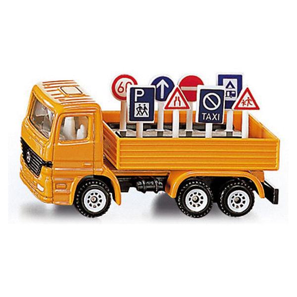 SIKU 1322 Грузовик с дорожными знакамиМашинки<br>Игрушечная модель грузовика с дорожными знаками в кузове имеет  кабину и шасси из металла, лобовое стекло и боковые стёкла из прозрачного пластика. Кузов грузовика не поднимается и сделан из пластмассы. Пластиковые колёса вращаются и позволяют катать машинку. Дорожные знаки (8 шт.) выполнены из пластика и вынимаются из кузова.<br><br>Дополнительная информация:<br><br>Размеры (Д/Ш/В): 7,7 см x 2,9 см x 3,2 см<br><br>SIKU 1322 Грузовик с дорожными знаками можно купить в нашем магазине.<br>Ширина мм: 96; Глубина мм: 78; Высота мм: 32; Вес г: 54; Возраст от месяцев: 36; Возраст до месяцев: 96; Пол: Мужской; Возраст: Детский; SKU: 1503785;