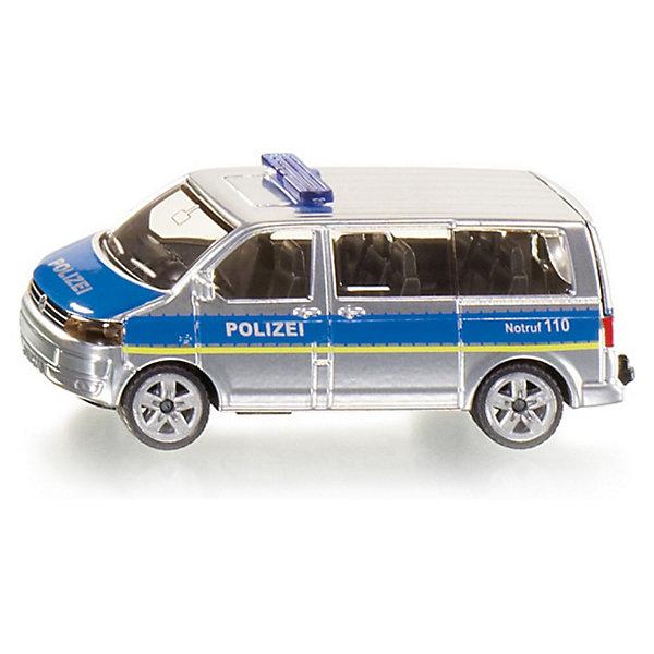 SIKU 1350 Полицейский микроавтобусМашинки<br>Модель SIKU (СИКУ) 1350 Полицейского микроавтобуса выполнена максимально точно, продумана каждая деталь. <br><br>Игрушечная модель полицейский микроавтобус, корпус выполнен из металла, лобовое, заднее и боковые стёкла из прозрачной тонированной пластмассы, колёса выполнены из резины и вращаются, можно катать. Автомобиль окрашен серебристой краской, по бокам голубая широкая полоса с надписью POLIZEI. На крыше установлена мигалка. Сзади имеется цепное устройство для прицепа. Сквозь пластиковых стекол можно рассмотреть крошечные детали модели. <br><br>Дополнительная информация:<br>-Материал: металл с элементами пластмассы<br>-Размер игрушки: 7,5 x 3,0 x 3,6 см<br><br>Полицейская машинка понравится любому мальчику, а удобная форма и размер машины позволит взять игрушку полностью в руку, что поможет тренировать координацию движения и мелкую моторику.<br><br>SIKU (СИКУ) 1350 Полицейский микроавтобус можно купить в нашем магазине.<br><br>Ширина мм: 97<br>Глубина мм: 78<br>Высота мм: 40<br>Вес г: 58<br>Возраст от месяцев: 36<br>Возраст до месяцев: 96<br>Пол: Мужской<br>Возраст: Детский<br>SKU: 1503788