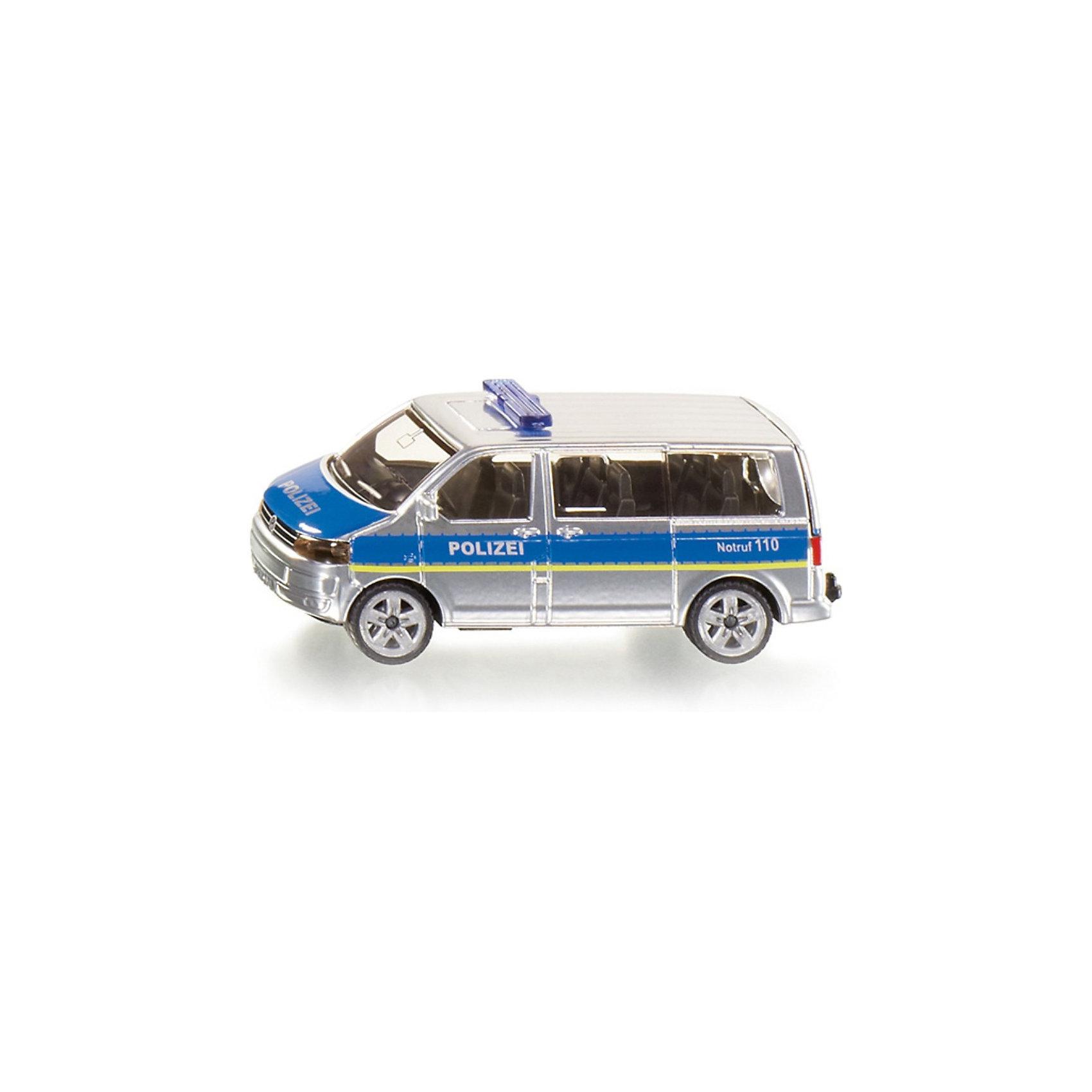 SIKU 1350 Полицейский микроавтобусМодель SIKU (СИКУ) 1350 Полицейского микроавтобуса выполнена максимально точно, продумана каждая деталь. <br><br>Игрушечная модель полицейский микроавтобус, корпус выполнен из металла, лобовое, заднее и боковые стёкла из прозрачной тонированной пластмассы, колёса выполнены из резины и вращаются, можно катать. Автомобиль окрашен серебристой краской, по бокам голубая широкая полоса с надписью POLIZEI. На крыше установлена мигалка. Сзади имеется цепное устройство для прицепа. Сквозь пластиковых стекол можно рассмотреть крошечные детали модели. <br><br>Дополнительная информация:<br>-Материал: металл с элементами пластмассы<br>-Размер игрушки: 7,5 x 3,0 x 3,6 см<br><br>Полицейская машинка понравится любому мальчику, а удобная форма и размер машины позволит взять игрушку полностью в руку, что поможет тренировать координацию движения и мелкую моторику.<br><br>SIKU (СИКУ) 1350 Полицейский микроавтобус можно купить в нашем магазине.<br><br>Ширина мм: 96<br>Глубина мм: 78<br>Высота мм: 38<br>Вес г: 61<br>Возраст от месяцев: 36<br>Возраст до месяцев: 96<br>Пол: Мужской<br>Возраст: Детский<br>SKU: 1503788