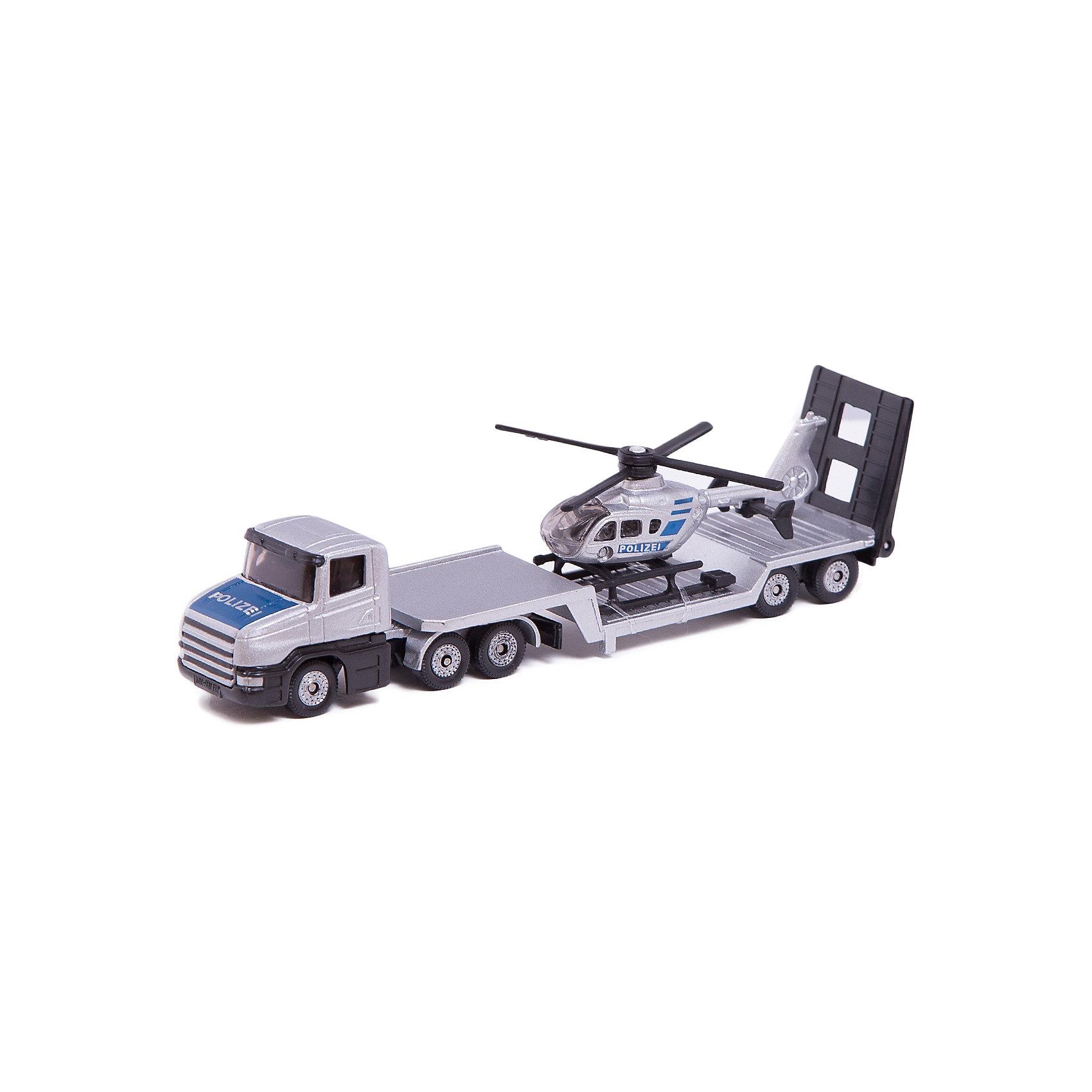 SIKU 1610 Низкорамный грузовик с вертолетомИгровые наборы<br>SIKU (СИКУ) 1610 Низкорамный грузовик с вертолетом<br><br>Корпус тягача и прицепа выполнены из металла, лобовое и боковые стёкла из прозрачной тонированной пластмассы, колёса выполнены из пластмассы и вращаются, можно катать. Прицеп отцепляется от тягача, вертолёт снимается с прицепа.<br><br>Дополнительная информация:<br>-Размер: 16,3 x 3,6 x 4 см<br>-Материал: металл с элементами пластмассы<br><br>Полицейские машина и вертолет понравится любому мальчику, а удобная форма и размер машины позволит взять игрушку полностью в руку, что поможет тренировать координацию движения и мелкую моторику.<br><br>SIKU (СИКУ) 1610 Низкорамный грузовик с вертолетом можно купить в нашем магазине.<br><br>Ширина мм: 196<br>Глубина мм: 78<br>Высота мм: 40<br>Вес г: 129<br>Возраст от месяцев: 36<br>Возраст до месяцев: 96<br>Пол: Мужской<br>Возраст: Детский<br>SKU: 1503793