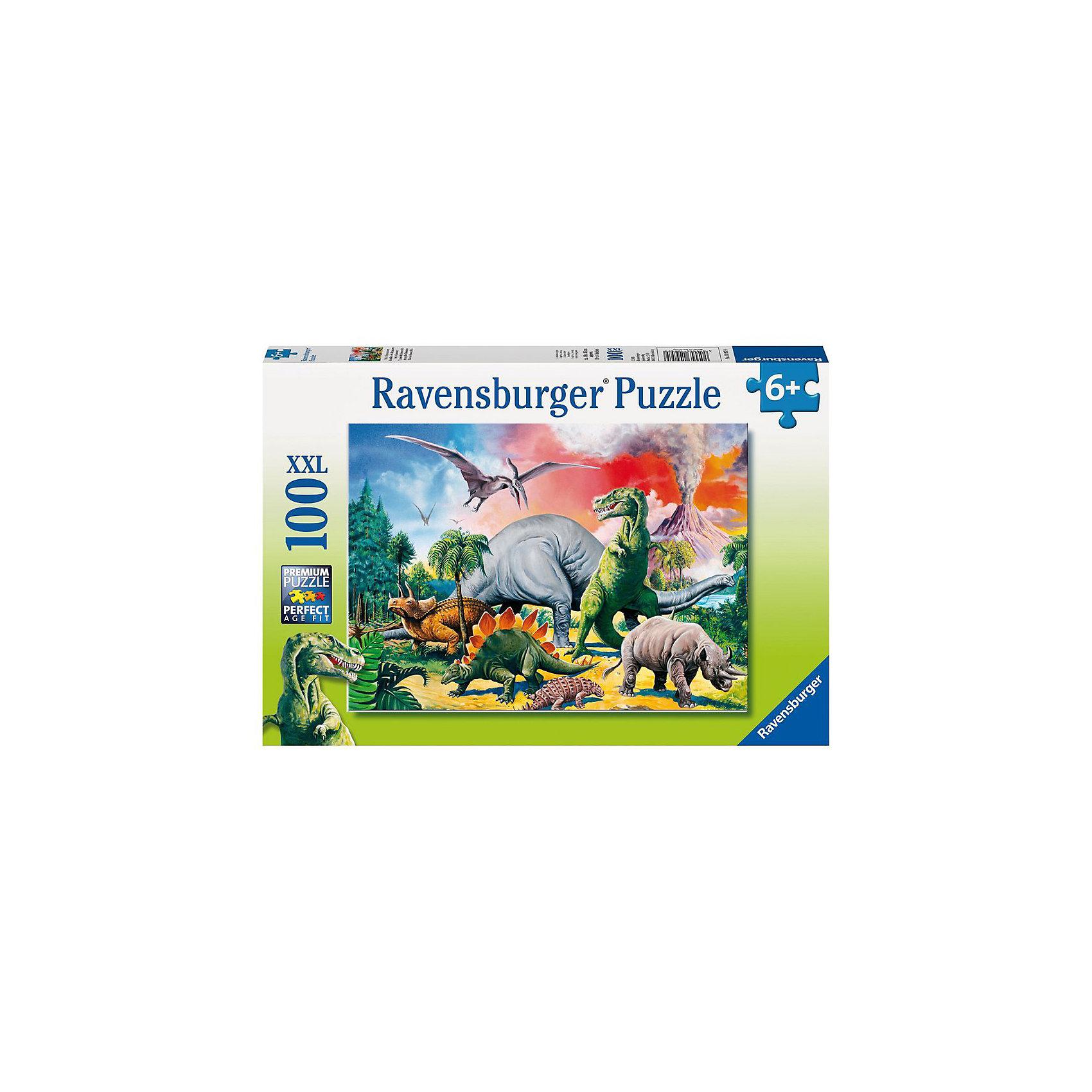 Пазл «Среди динозавров» XXL 100 деталей, RavensburgerПазл «Среди динозавров» XXL 100 деталей, Ravensburger (Равенсбургер) сможет рассказать малышу о том времени, когда на Земле жили огромные рептилии. На картинке он увидит несколько различных динозавров, которые бегут от извергающегося вулкана. Красочная картинка привлечет внимание ребенка и отлично подойдет в качестве украшения комнаты, ведь готовое изображение можно повесить на стену. <br><br>Характеристики:<br>-Элементы идеально соединяются друг с другом, не отслаиваются с течением времени<br>-Высочайшее качество картона и полиграфии <br>-Матовая поверхность исключает отблески<br>-Развивает: память, мышление, внимательность, усидчивость, мелкая моторика, восприятие форм и цветов<br>-Занимательное времяпрепровождение для всей семьи<br>-Для сохранения в собранном виде можно использовать скотч или специальный клей для пазлов (в комплект не входит)<br><br>Дополнительная информация:<br>-Материал: плотный картон, бумага<br>-Размер собранного пазла: 49х36 см<br>-Размер упаковки: 33х23х3,5 см<br>-Вес упаковки: 500 г<br><br>Для детей собирание пазлов – это интересная и полезная игра, а для взрослых — прекрасная возможность провести время вместе со своими детьми!<br><br>Пазл «Среди динозавров» XXL 100 деталей, Ravensburger (Равенсбургер) можно купить в нашем магазине.<br><br>Ширина мм: 338<br>Глубина мм: 230<br>Высота мм: 39<br>Вес г: 519<br>Возраст от месяцев: 72<br>Возраст до месяцев: 96<br>Пол: Унисекс<br>Возраст: Детский<br>Количество деталей: 100<br>SKU: 1504317
