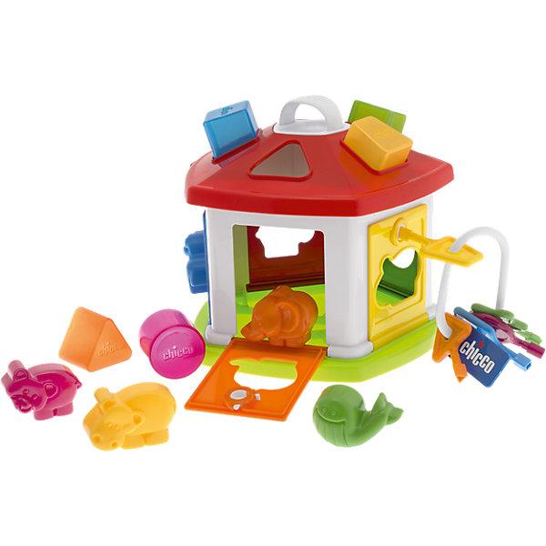 Сортер Домик для животных , ChiccoРазвивающие игрушки<br>Характеристики товара:<br><br>• возраст от 1 года;<br>• материал: пластик;<br>• в комплекте: домик, 5 фигурок, 5 ключей, 5 формочек;<br>• размер домика 15х15х20 см;<br>• размер упаковки 31х23х25 см;<br>• вес упаковки 1,03 кг;<br>• страна производитель: Китай. <br><br>Сортер «Домик для животных» Chicco выполнен в виде домика для животных с дверцами, на которых имеются замки и отверстия в форме животных. На крыше расположены отверстия в виде геометрических фигур. Для каждого отверстия подходит своя геометрическая фигура и фигурка животного. У каждой дверцы свой ключ. В процессе игры малыш ищет подходящую для отверстия фигуру, что позволяет развивать логическое мышление, моторику рук, наблюдательность, малыш учит понятия цвета и формы.<br><br>Сортер «Домик для животных» Chicco можно приобрести в нашем интернет-магазине.<br><br>Ширина мм: 321<br>Глубина мм: 238<br>Высота мм: 253<br>Вес г: 993<br>Возраст от месяцев: 12<br>Возраст до месяцев: 36<br>Пол: Унисекс<br>Возраст: Детский<br>SKU: 1505844