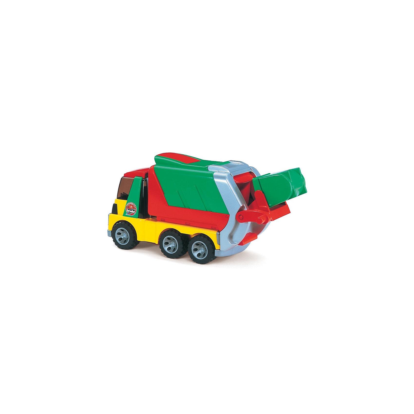 Мусоровоз ROADMAX, BruderМашинки<br>Красочный мусоровоз Roadmax от Bruder (Брудер) понравится всем юным любителям техники. Машины Брудер отличает качественная проработка всех деталей и высокая реалистичность, Ваш ребенок в увлекательной форме познакомится с особенностями работы дорожно-строительной техники и откроет для себя множество новых профессий.<br>Мусоровоз оборудован кабиной, передняя часть который откидывается, внутри два сиденья. Кузов поднимается для разгрузки на 45 градусов, при этом откидывается задний борт. В первоначальном положении кузов надёжно фиксируется защёлкой, сверху открывается крышка. Модель оборудована подъемным механизмом для разгрузки мусорных баков, которым легко управлять с помощью специальной ручки. Механизм позволяет переворачивать контейнер почти на 180 градусов и полностью разгружать мусор в кузов.<br><br>Съемный контейнер для мусора легко вынимается и надежно крепится с помощью специальной защелки. Задний борт кузова имеет подвижную дверку-шторку и выдвигается с помощью телескопического механизма. Машина имеет прорезиненные колеса с протекторами, обеспечивающие сохранность напольного покрытия. У игрушки скругленные углы, что делает ее безопасной для малышей.<br><br>Дополнительная информация:<br><br>- Материал: высококачественный пластик, резина. <br>- Размер грузовика: 40 х 16,5 х 24 см.<br>- Размер контейнера: 9 х 7 х 8 см. <br>- Размеры упаковки: 46 х 19 х 23,5 см. <br>- Вес: 1,665 кг. <br><br>Мусоровоз Roadmax, Bruder (Брудер) можно купить в нашем интернет-магазине.<br><br>Ширина мм: 468<br>Глубина мм: 243<br>Высота мм: 203<br>Вес г: 1696<br>Возраст от месяцев: 24<br>Возраст до месяцев: 60<br>Пол: Мужской<br>Возраст: Детский<br>SKU: 1519966