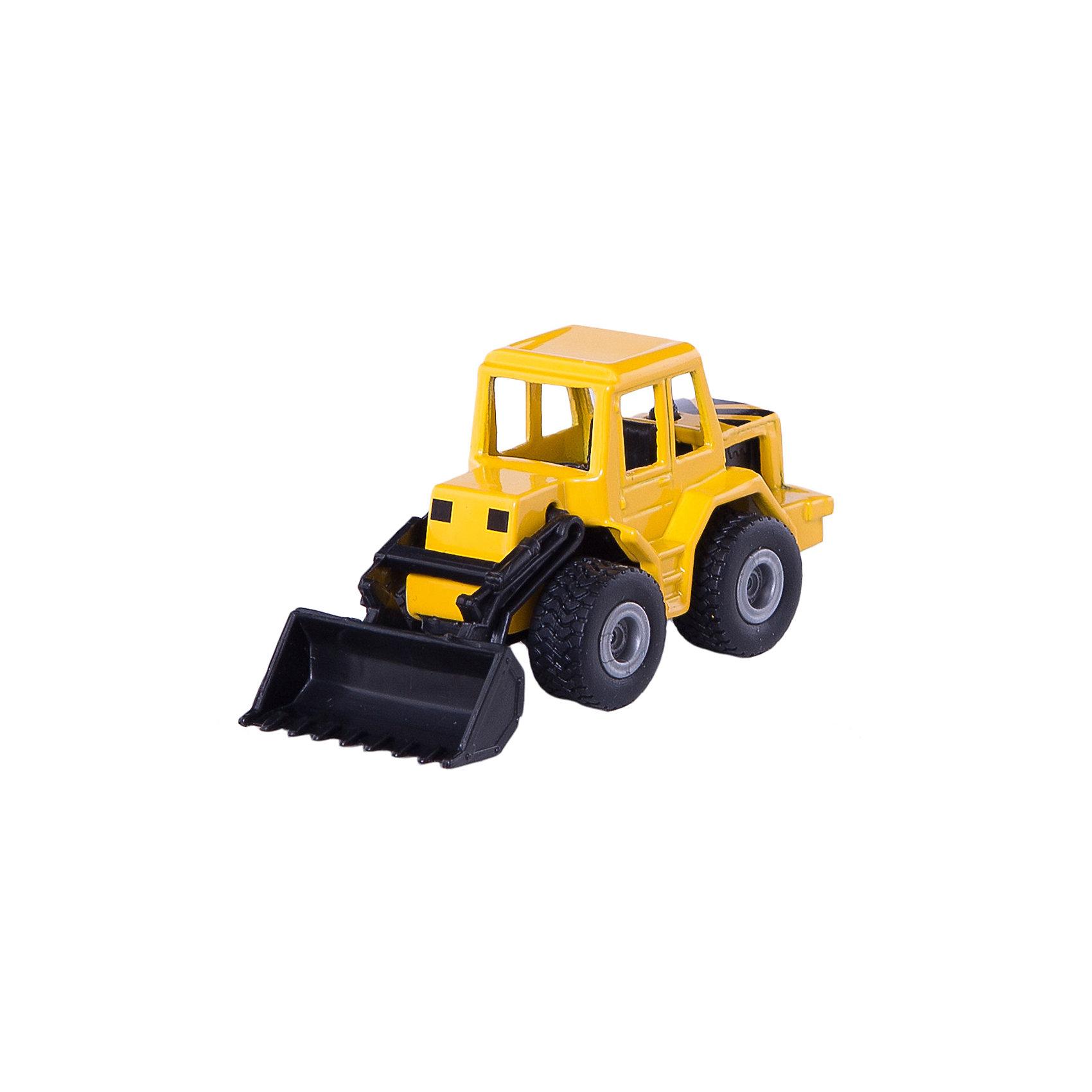 SIKU 0802 Фронтальный погрузчикМашинки<br>Игрушечная модель SIKU (СИКУ) 0802 Фронтальный погрузчик создана для маленьких строителей.<br><br>Кабина машинки выполнена из металла, ковш поднимается и опускается, колёса бульдозера вращаются и выполнены из мягкой резины.<br><br>Дополнительная информация:<br>-Размер: 7,4х3,5х3,7<br>-Материал:металл с элементами пластмассы<br><br>Тщательно выполненная модель фронтального погрузчика, достойный внешний вид делает эту машинку отличным подарком.<br><br>SIKU (СИКУ) 0802 Фронтальный погрузчик можно купить в нашем магазине.<br><br>Ширина мм: 97<br>Глубина мм: 78<br>Высота мм: 32<br>Вес г: 49<br>Возраст от месяцев: 36<br>Возраст до месяцев: 96<br>Пол: Мужской<br>Возраст: Детский<br>SKU: 1519978