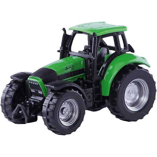 SIKU 0859 Трактор Deutz AgrotronМашинки<br>SIKU (СИКУ) 0859 Трактор Deutz Agrotron обладает высоким уровнем детализации. Deutz-Fahr (Дотц-Фар)-один из крупнейших мировых производителей комбайнов, двигателей, сельскохозяйственного оборудования и, конечно же, тракторов. Серия Agrotron является одной из наиболее популярных линеек в модельном ряду тракторов компании Deutz-Fahr.<br><br>Корпус модели трактора выполнен из металла, кабина из пластика, колёса выполнены из пластика и вращаются, можно катать. Модель оснащена мощными колесами с рифлеными шинами и обладает хорошим сцеплением даже со скользкой поверхностью. Модель отлично сбалансирована и хорошо разгоняется от незначительного толчка рукой.<br><br>Дополнительная информация:<br>-Размер: 7,0 x 3,5 x 4,5 см<br>-Материал: металл, пластмасса<br><br>Игра с моделями тракторов SIKU (СИКУ) развивает воображение, мышление, память, мелкую моторику рук и координацию движений детей.<br><br>SIKU (СИКУ) 0859 Трактор Deutz Agrotron можно купить в нашем магазине.<br>Ширина мм: 96; Глубина мм: 81; Высота мм: 40; Вес г: 60; Возраст от месяцев: 36; Возраст до месяцев: 96; Пол: Мужской; Возраст: Детский; SKU: 1519981;