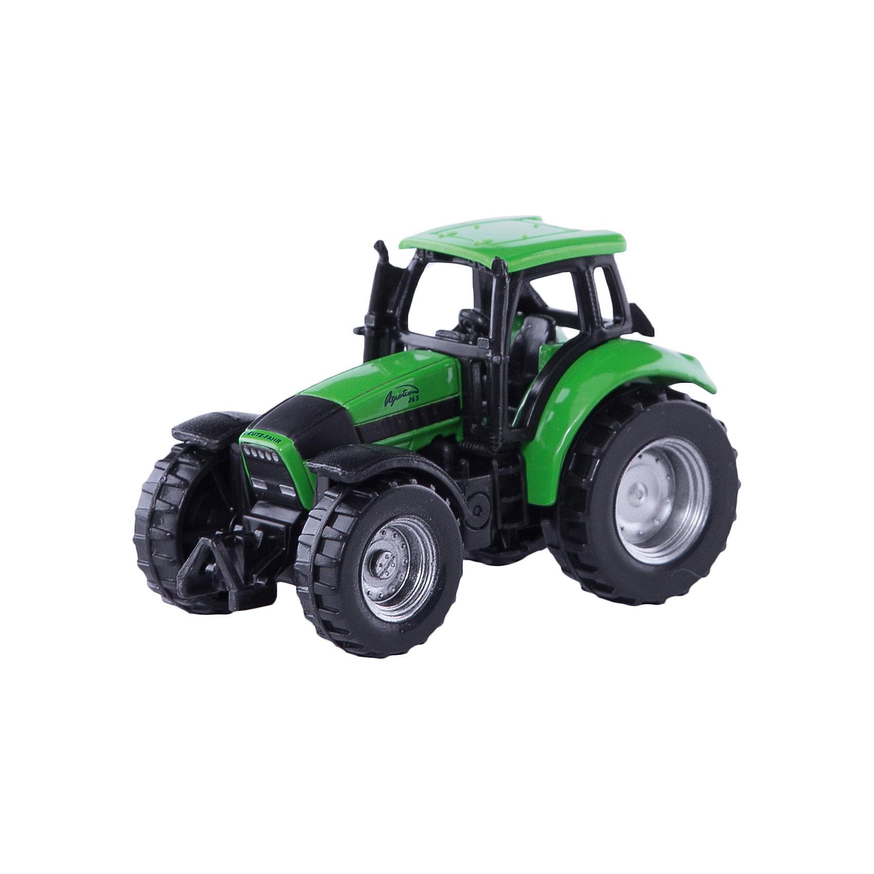 SIKU 0859 Трактор Deutz AgrotronМашинки<br>SIKU (СИКУ) 0859 Трактор Deutz Agrotron обладает высоким уровнем детализации. Deutz-Fahr (Дотц-Фар)-один из крупнейших мировых производителей комбайнов, двигателей, сельскохозяйственного оборудования и, конечно же, тракторов. Серия Agrotron является одной из наиболее популярных линеек в модельном ряду тракторов компании Deutz-Fahr.<br><br>Корпус модели трактора выполнен из металла, кабина из пластика, колёса выполнены из пластика и вращаются, можно катать. Модель оснащена мощными колесами с рифлеными шинами и обладает хорошим сцеплением даже со скользкой поверхностью. Модель отлично сбалансирована и хорошо разгоняется от незначительного толчка рукой.<br><br>Дополнительная информация:<br>-Размер: 7,0 x 3,5 x 4,5 см<br>-Материал: металл, пластмасса<br><br>Игра с моделями тракторов SIKU (СИКУ) развивает воображение, мышление, память, мелкую моторику рук и координацию движений детей.<br><br>SIKU (СИКУ) 0859 Трактор Deutz Agrotron можно купить в нашем магазине.<br><br>Ширина мм: 97<br>Глубина мм: 78<br>Высота мм: 38<br>Вес г: 50<br>Возраст от месяцев: 36<br>Возраст до месяцев: 96<br>Пол: Мужской<br>Возраст: Детский<br>SKU: 1519981
