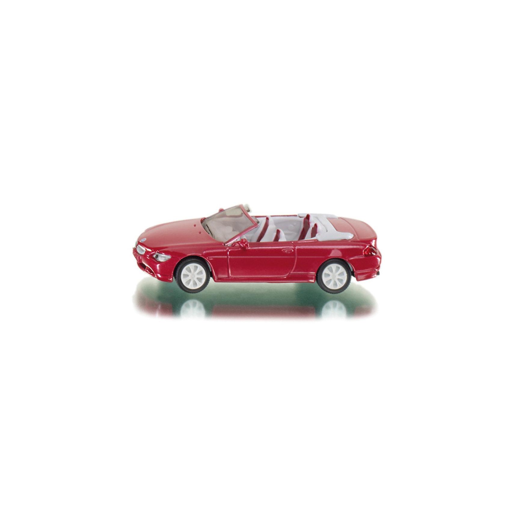SIKU 1007 BMW 645i CabrioBMW 645i Cabrio из серии Siku Super. <br><br>Открытый вариант новой BMW 645i представляет собой стильный и изысканный кабриолет. Теперь этот автомобиль присутствует и в ассортименте моделей SIKU. Колеса с резиновыми протекторами обеспечивают комфорт при езде. Диски соответствуют оригинальным вплоть до деталей. Вставные передние и задние фары из пластмассы.<br><br>Игрушечные модели SIKU уже более 50 лет отличаются высоким качеством и безопасностью. Они имеют сертификаты T?V и GS, изготавливаются в соответствии с актуальными предписаниями по безопасности и отмечены знаком SPIEL GUT.<br><br><br>Д/Ш/В: 89x38x24 мм<br><br>+++Примечание+++<br>Фирма SIKU оставляет за собой право на изменение цвета и технических характеристик моделей. При демонстрации новинок в ряде случаев используются оригинальные фотографии и прототипы. Поставляемая модель может отличаться от представленной на фотографии.<br><br>Ширина мм: 97<br>Глубина мм: 76<br>Высота мм: 35<br>Вес г: 49<br>Возраст от месяцев: 36<br>Возраст до месяцев: 96<br>Пол: Мужской<br>Возраст: Детский<br>SKU: 1519985