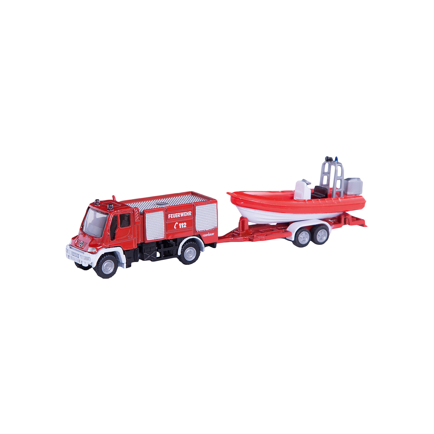 SIKU SIKU 1636 Пожарная машина Unimog с катером 1:87 тягач siku с катером на прицепе 1 87 красный 1613