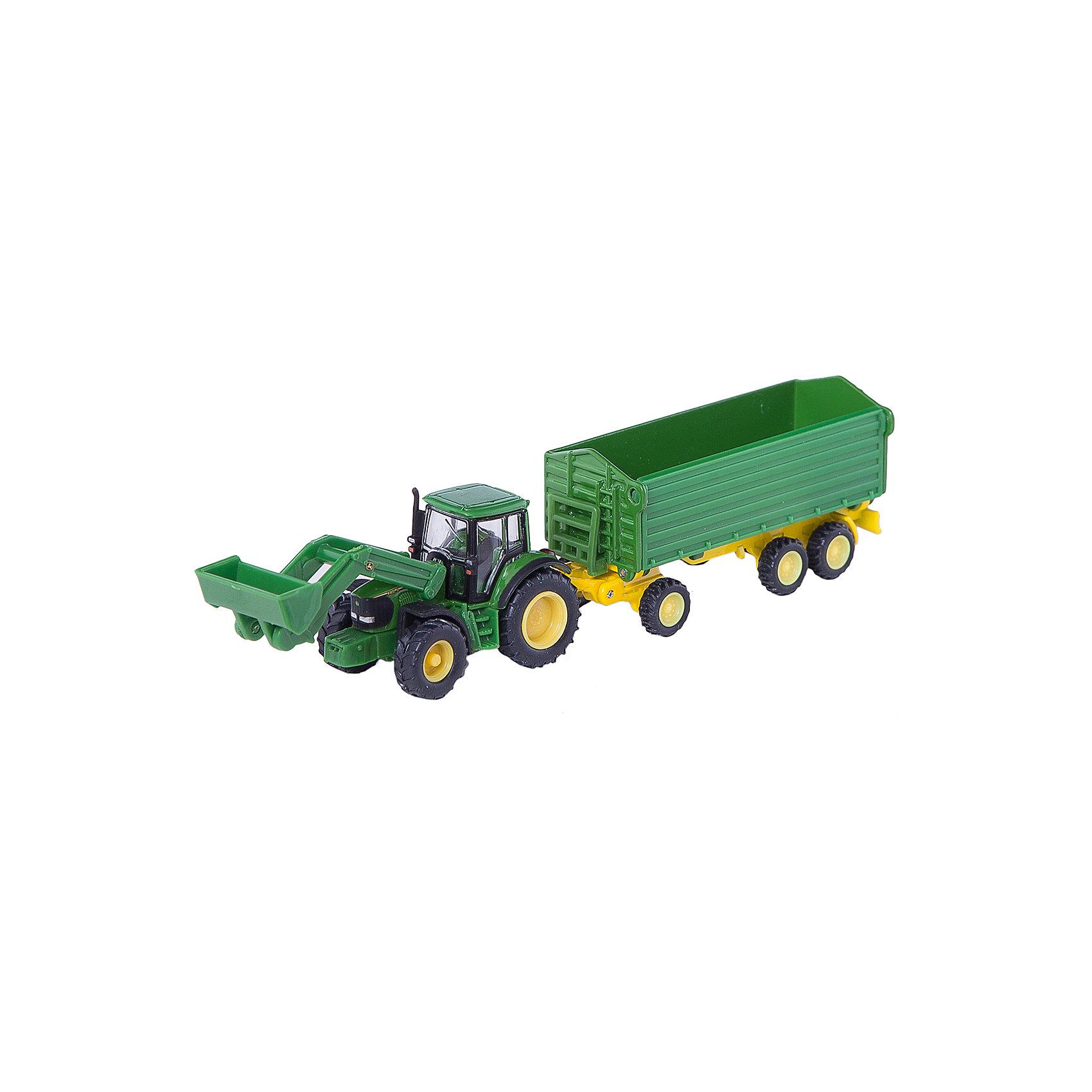 SIKU SIKU 1843 Трактор John Deere с ковшом/прицепом 1:87 трактор tomy john deere зеленый 19 см с большими колесами звук свет