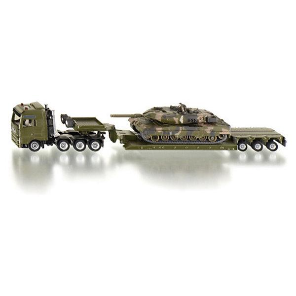 Тягач с танком, SIKUМашинки<br>Набор Тягач с танком, SIKU (СИКУ) состоит из тяжелого грузовика MAN, платформы и танка Leopard, раскрашенных под камуфляж.<br><br>Прицеп можно отсоединить, башня танка поворачивается на 360 градусов, пушка двигается вверх-вниз. Корпус машинок выполнен из прочного металла и пластика. В набор входит наклейка с символами, которые можно нанести на башню танка.<br><br>Дополнительная информация:<br>-Размер игрушки: 26,8х4,7х4,8 см<br>-Масштаб 1:87<br>-Материал: пластмасса, металл<br><br>Набор игрушечных моделей Тягач с танком-замечательная игрушка для мальчиков, увлекающихся военной техникой.<br><br>Тягач с танком, SIKU (СИКУ) можно купить в нашем магазине.<br>Ширина мм: 304; Глубина мм: 78; Высота мм: 60; Вес г: 344; Возраст от месяцев: 36; Возраст до месяцев: 96; Пол: Мужской; Возраст: Детский; SKU: 1520034;