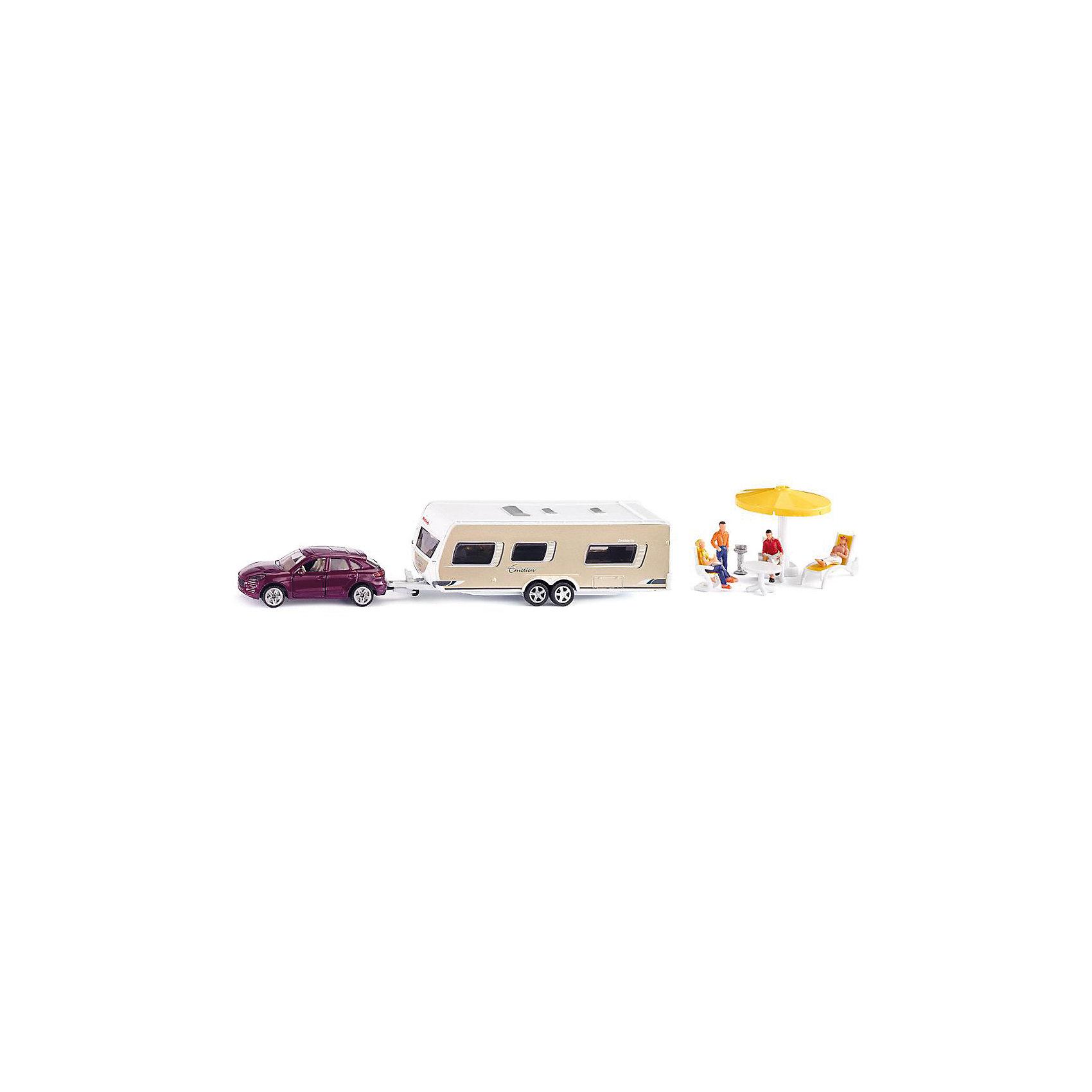 SIKU 2542 Джип с прицепом дом на колесах 1:55Игровые наборы<br>Набор SIKU (СИКУ) 2542 Джип с прицепом дом на колесах 1:55-это классическая «иллюстрация дома на колесах» для семейных путешествий.<br><br>Характеристики:<br>-Корпусы и колесные оси автомоделей выполнены из металла<br>-Стекла, внутреннее убранство салонов, колеса и днища-из пластмассы<br>-У модели автомобиля Porsche Cayenne Turbo открываются боковые двери<br>-Дом на колесах и внедорожник соединяются между собой с помощью шарнирной пластиковой сцепки<br> -У прицепа снимается крыша. Внутри него есть стол, «плита» и кровать для фигурок людей<br> -Автомобиль и прицеп установлены на подвижные колеса из рифленой прорезиненной пластмассы, за счет чего модели обладают отличным сцеплением<br><br>Комплектация:<br>-модель внедорожника Porsche Cayenne Turbo<br>-прицеп (или «дом на колесах»)<br>-аксессуары для пикника (два стула, стол, шезлонг, тент, решетка для барбекю)<br>-четыре фигурки людей<br><br>Дополнительная информация:<br>-Размеры внедорожника 9х3,5х3 см<br>-Размеры дома на колесах SIKU (СИКУ) 15х4,5х5 см<br>-Высота фигурок 1,5-3,5 см<br>-Материал: металл, пластмасса.<br><br>Автомодели имеют высокий уровень детализации для своего небольшого масштаба, поэтому эта игрушка понравится ребенку и будет хорошо смотреться и в шкафу коллекционера.<br><br>SIKU (СИКУ) 2542 Джип с прицепом дом на колесах 1:55 можно купить в нашем магазине.<br><br>Ширина мм: 260<br>Глубина мм: 119<br>Высота мм: 63<br>Вес г: 352<br>Возраст от месяцев: 36<br>Возраст до месяцев: 96<br>Пол: Мужской<br>Возраст: Детский<br>SKU: 1520042