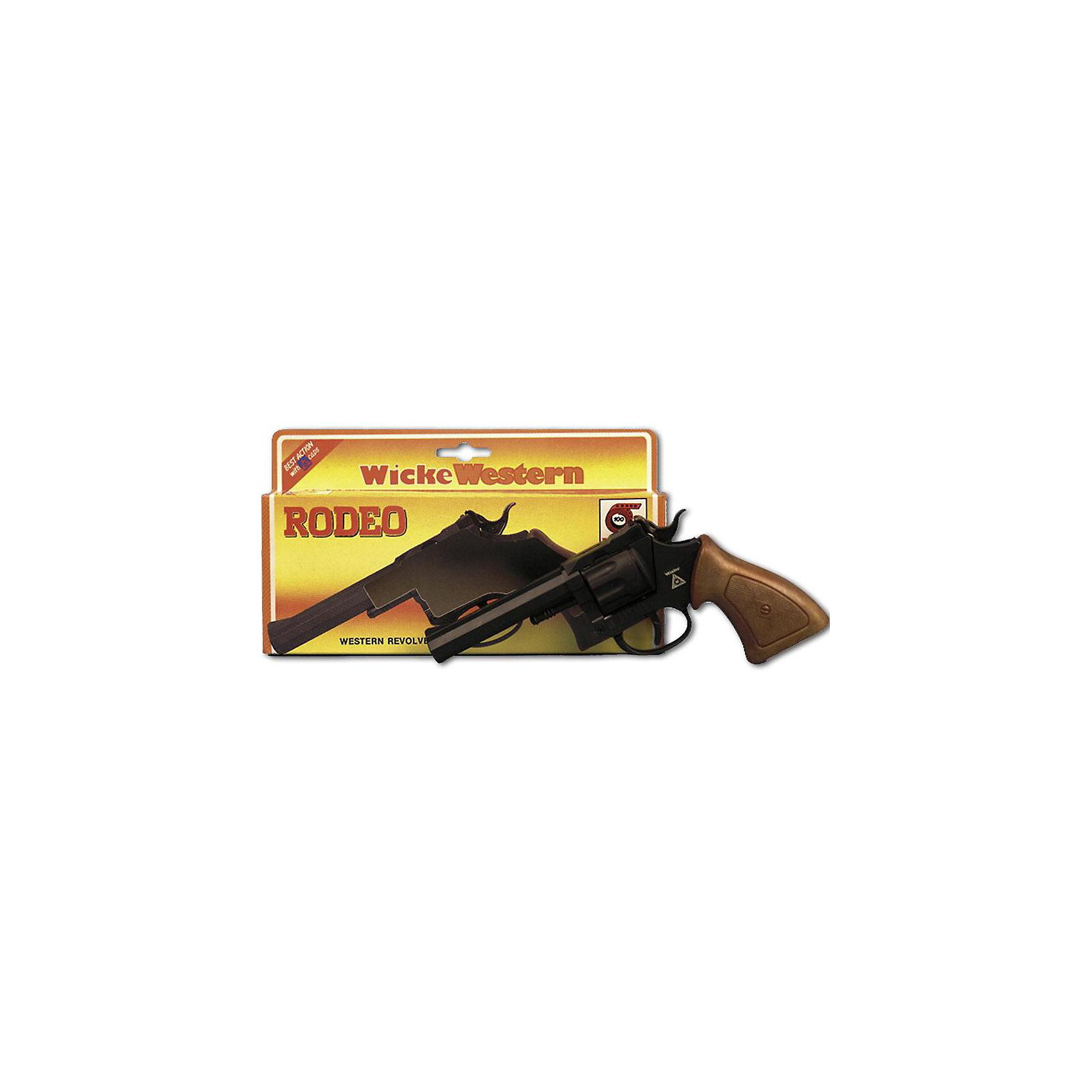 Пистолет Rodeo, 100-зарядный,  Sohni-WickeИгрушечное оружие<br>Пистолет Rodeo, 100-зарядный,  Sohni-Wicke (Сони-Вике) – это отлично детализированный пистолет игрушка.<br>Пистолет Родео с черным резным дулом — мощное и стильное оружие для игры в вестерн. 100-зарядный игрушечный пистолет Rodeo выполнен в натуральную величину с сильной детализацией и издали на 100% похож, на настоящий. Он стреляет бумажными пистонами, издавая при этом реалистические звуки выстрелов, тип выстрелов - одиночные. Пистолет изготовлен из прочного пластика, который не содержат токсичных и опасных веществ. Игрушечное оружие Sohni-Wicke (Сони-Вике) — это лучшие детские пистонные винтовки и пистолеты для мальчиков. Используйте пистолет на достаточном расстоянии от лица и ушей. Стрельба из пистонных пистолетов на близком расстоянии к ушам может привести к повреждению слуха. Не стреляйте в помещении.<br><br>Дополнительная информация:<br><br>- Ёмкость магазина: 100 зарядов<br>- Материал: пластик<br>- Размер пистолета: 19,8 см.<br>- Пистоны приобретаются отдельно<br>- Внимание: мелкие детали! Игрушка не подходит для детей младше 3 лет<br>- Заранее внимательно изучите инструкцию по безопасному обращению с игрушкой<br><br>Пистолет Rodeo, 100-зарядный,  Sohni-Wicke (Сони-Вике) можно купить в нашем интернет-магазине.<br><br>Ширина мм: 20<br>Глубина мм: 180<br>Высота мм: 215<br>Вес г: 154<br>Возраст от месяцев: 72<br>Возраст до месяцев: 168<br>Пол: Мужской<br>Возраст: Детский<br>SKU: 1542096