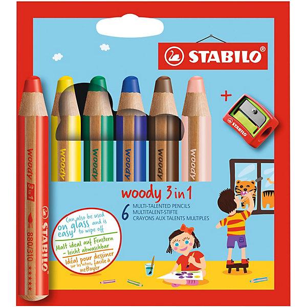 Набор цветных карандашей Stabilo Woody,6цв+точилка, картонПисьменные принадлежности<br>Характеристики:<br><br>• возраст: от 3 лет<br>• в наборе: 6 карандашей, точилка<br>• количество цветов: 6<br>• диаметр грифеля: 1 см.<br>• длина карандаша: 11 см.<br>• материал корпуса: древесина<br>• упаковка: картонная коробка<br>• размер упаковки: 15,5х9,5х2 см.<br>• вес: 102 гр.<br><br>Супертолстые цветные карандаши Stabilo «Woody» 3 в 1 - это уникальные карандаши, сочетающие в себе возможности цветных карандашей, акварельных красок и восковых мелков.<br><br>Высокая степень пигментации гарантирует яркость цвета, и исключительную покрывающую способность даже на темном фоне. Отличные акварельные качества позволяют добиться необычных изобразительных эффектов. Прочный грифель идеален для раскрашивания.<br><br>Карандаши Stabilo «Woody» пишут практически на всех гладких поверхностях, включая стекло.<br><br>Набор цветных карандашей Stabilo Woody,6цв+точилка, картон можно купить в нашем интернет-магазине.<br>Ширина мм: 154; Глубина мм: 119; Высота мм: 30; Вес г: 111; Возраст от месяцев: 36; Возраст до месяцев: 84; Пол: Унисекс; Возраст: Детский; SKU: 1550469;
